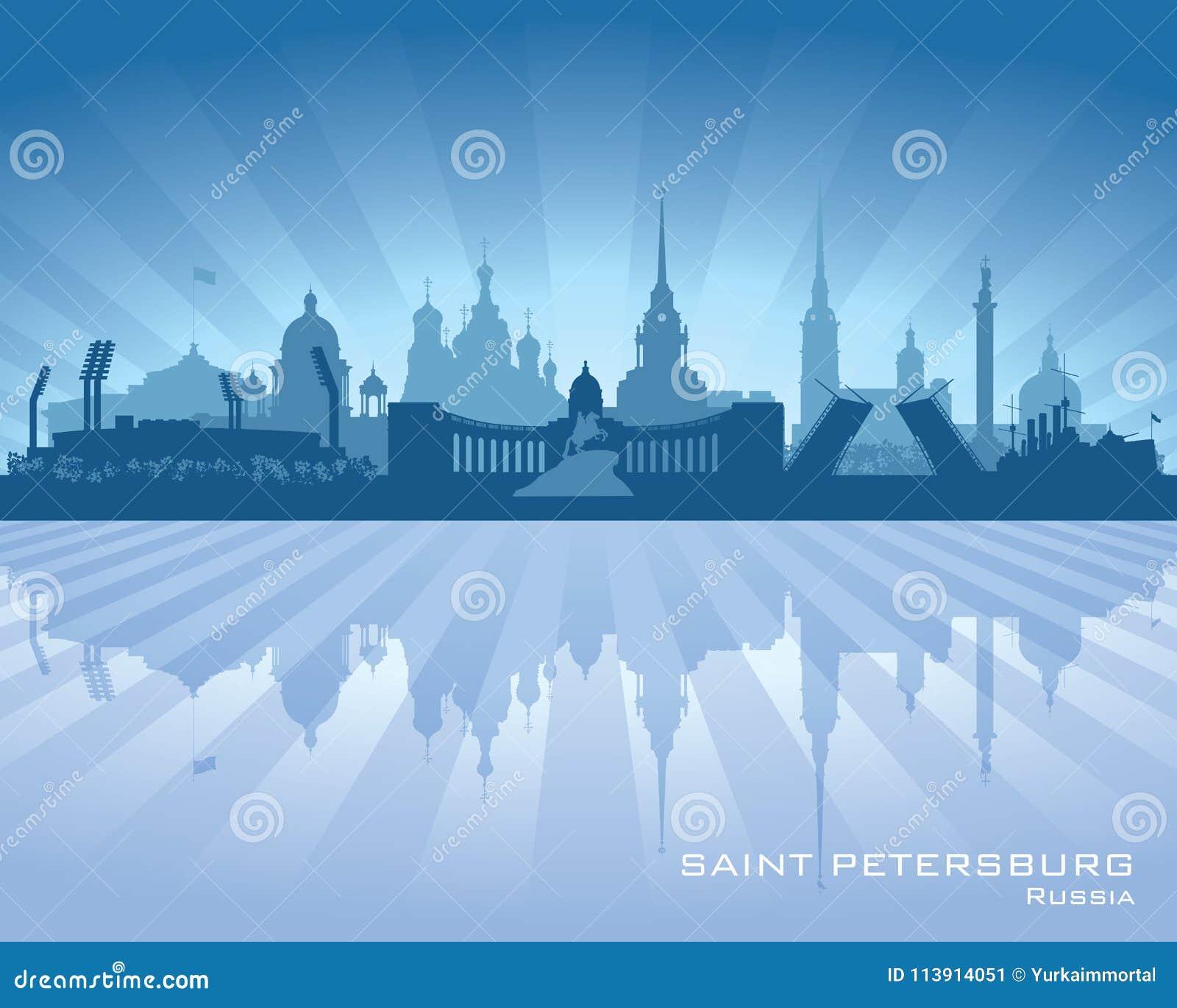 Silhueta da skyline da cidade de St Petersburg Rússia