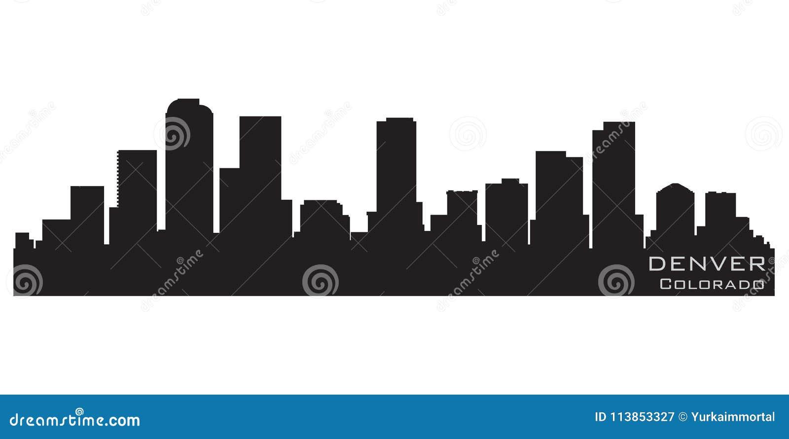 Silhueta da skyline de Denver, Colorado Silhueta detalhada do vetor