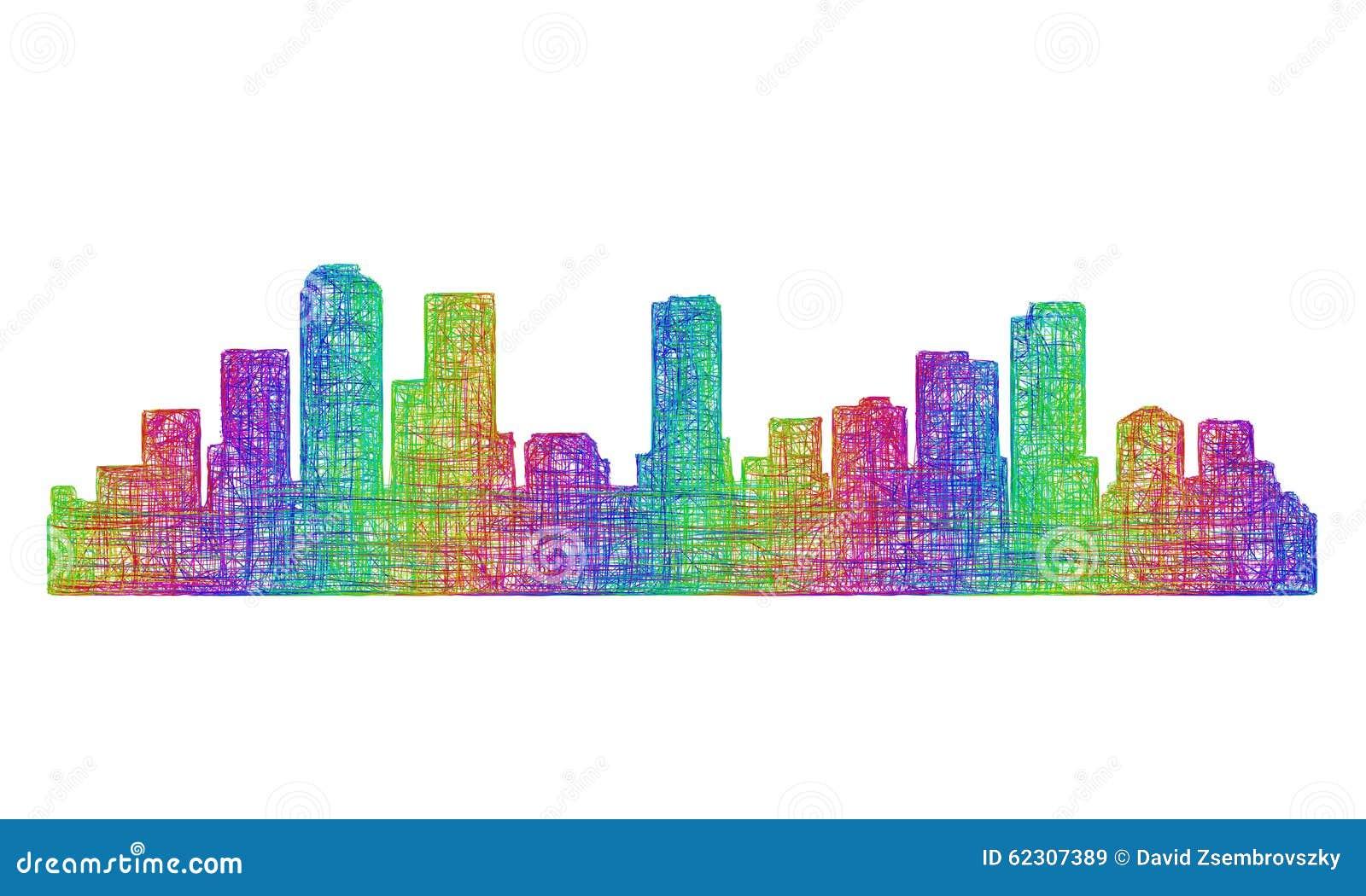 Silhueta da skyline de Denver - linha arte multicolorido