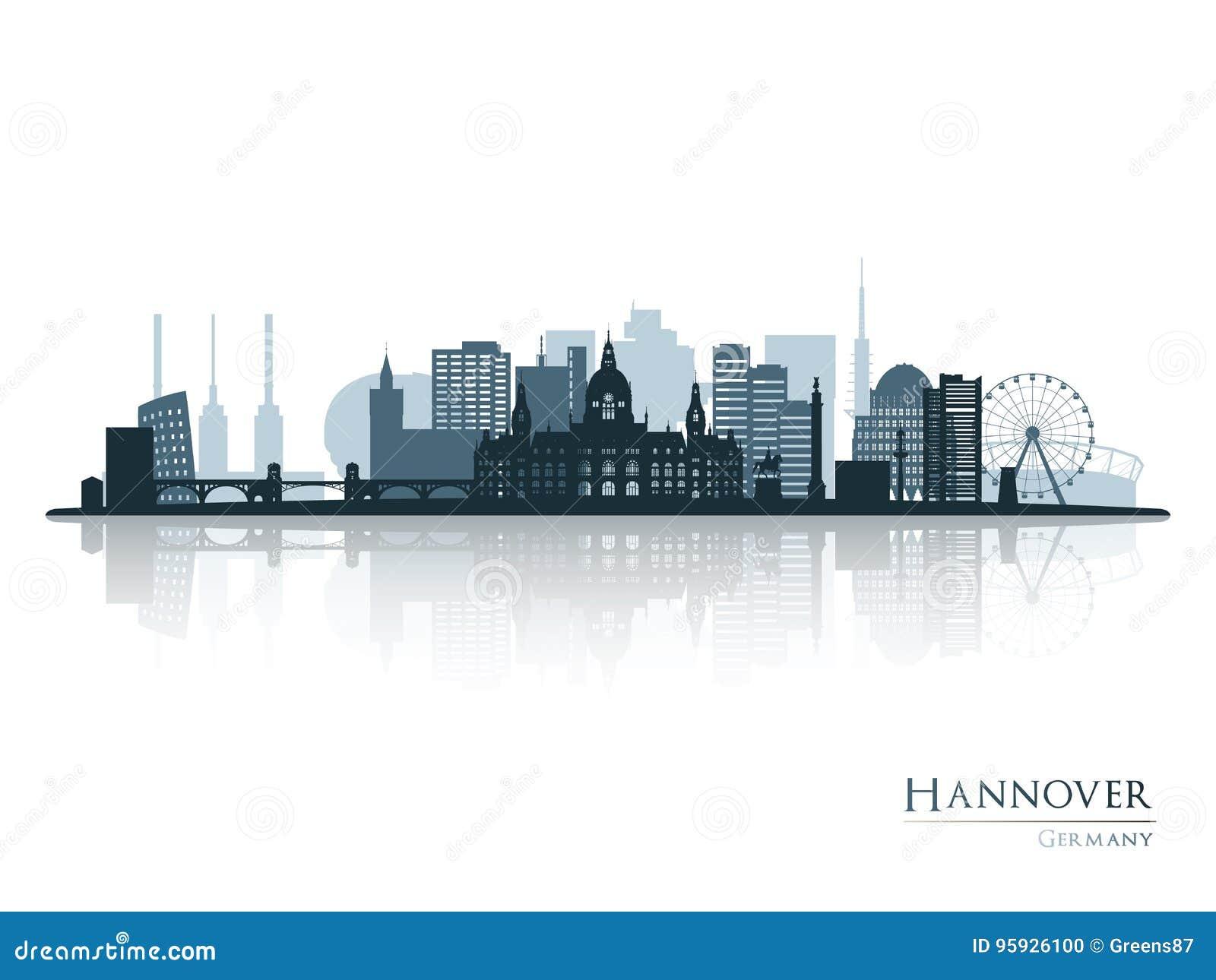 Silhueta da skyline de Hannover com reflexão