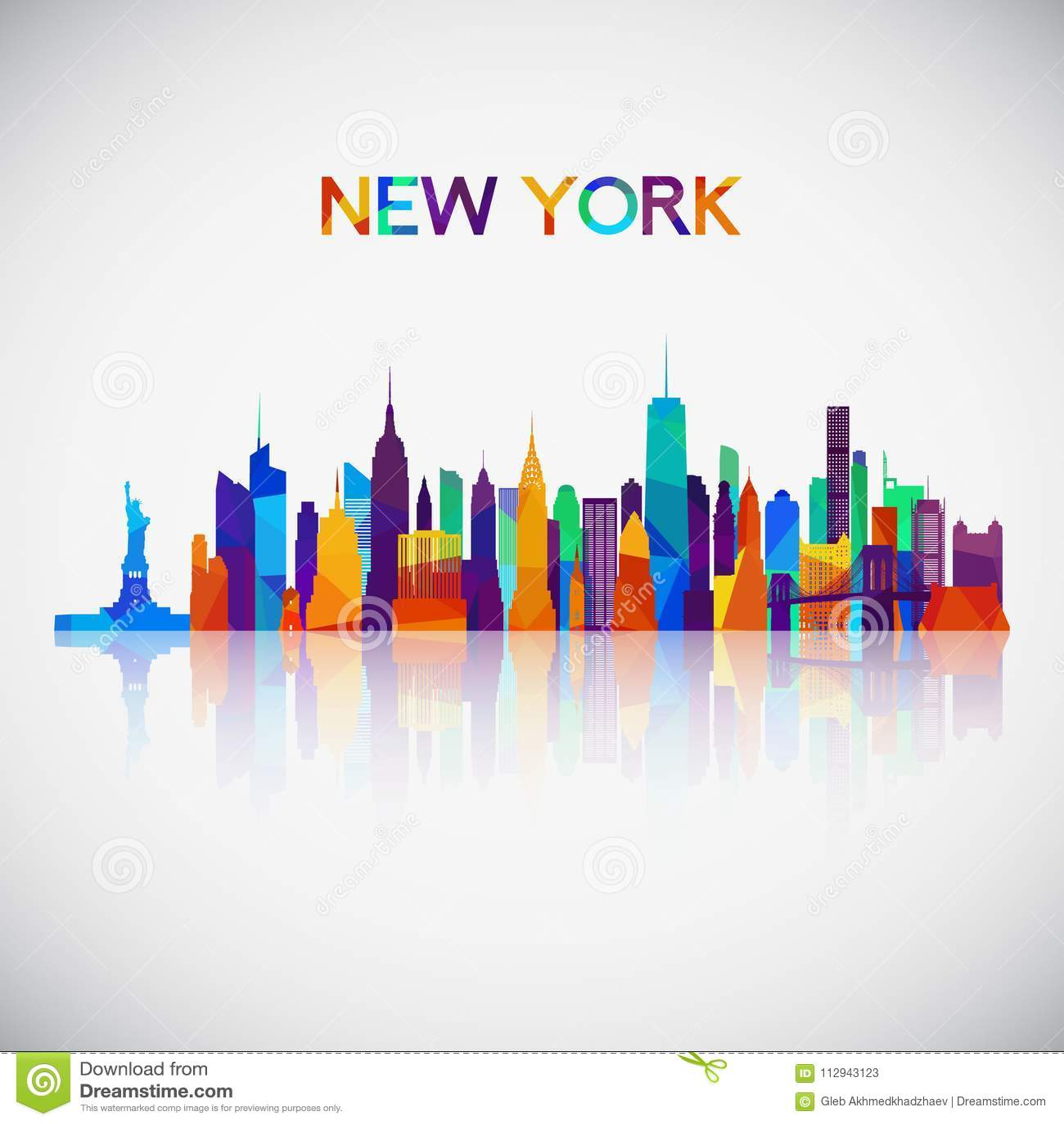 Silhueta da skyline de New York no estilo geométrico colorido