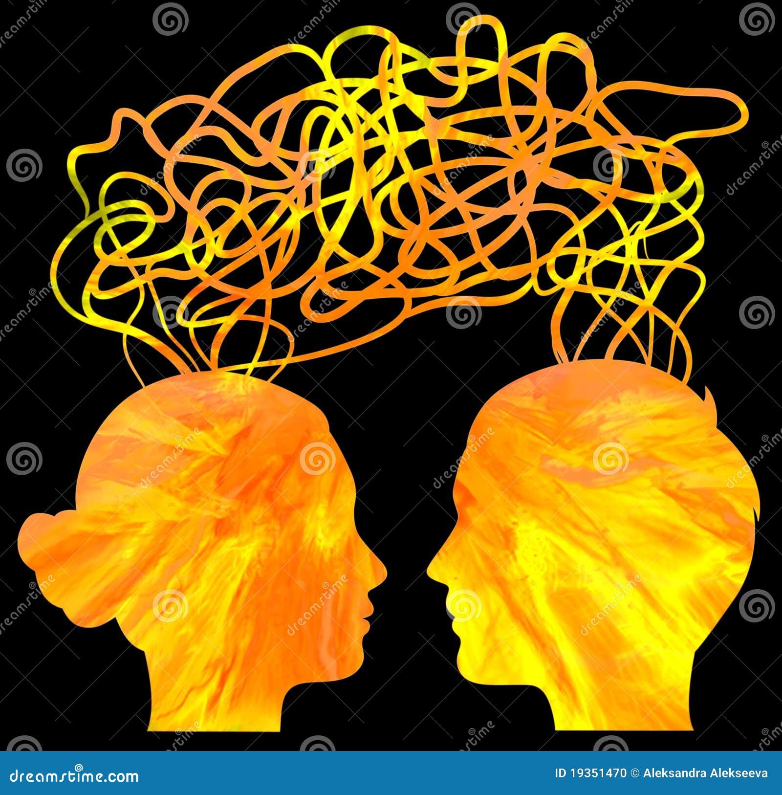 Silhueta das cabeças dos pares que pensam, relacionamento