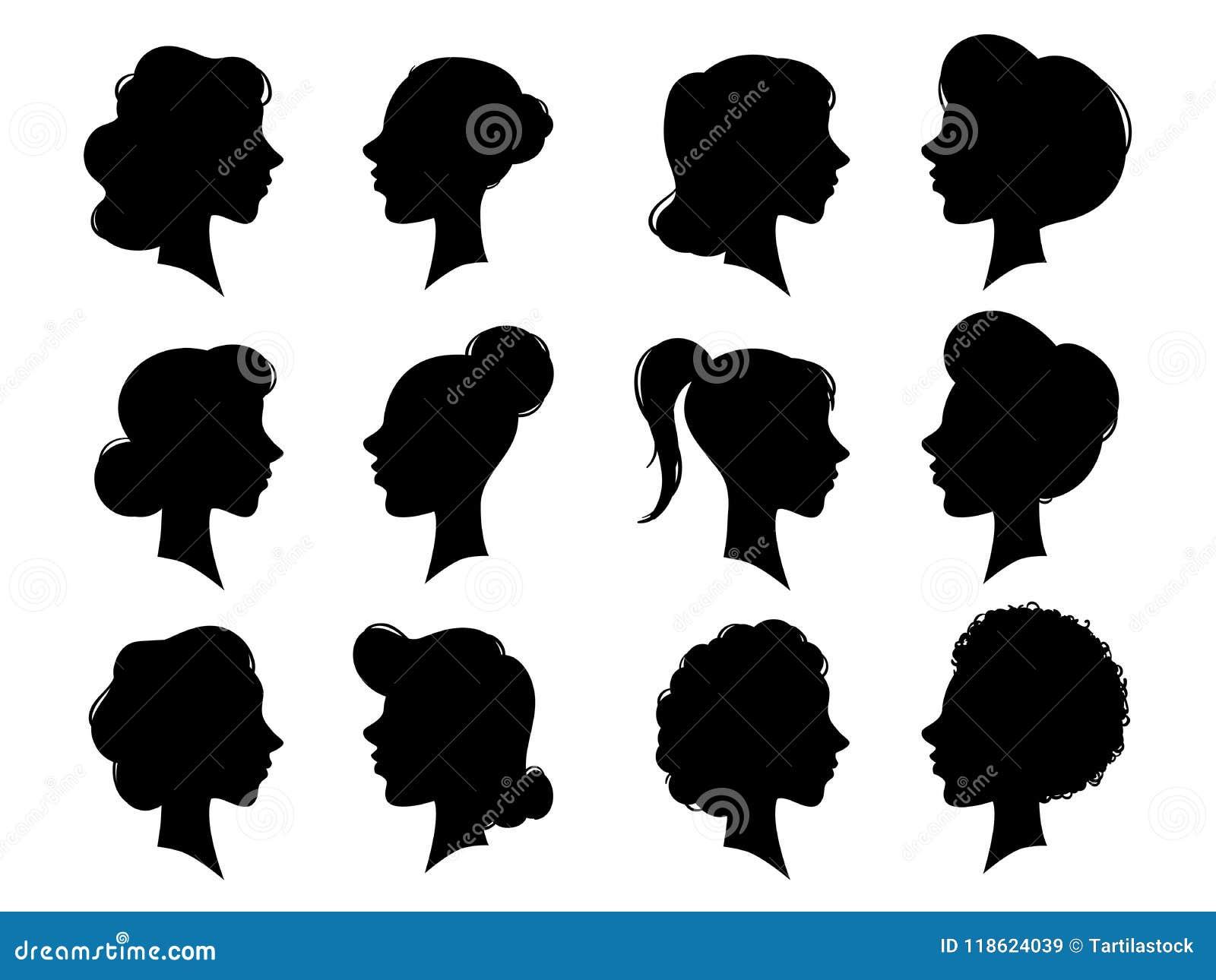Silhueta das caras laterais do vintage do adulto e da jovem mulher Perfil da cara da mulher ou silhuetas principais fêmeas Cabeça