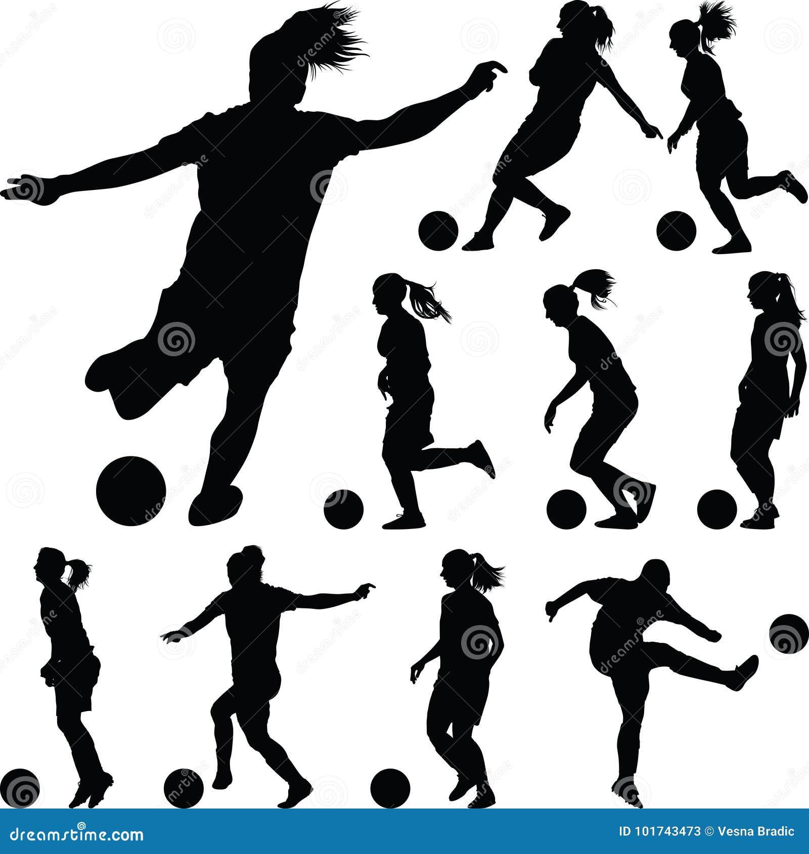 Silhueta Das Mulheres Do Futebol Jogador Da Menina Ilustração do ...