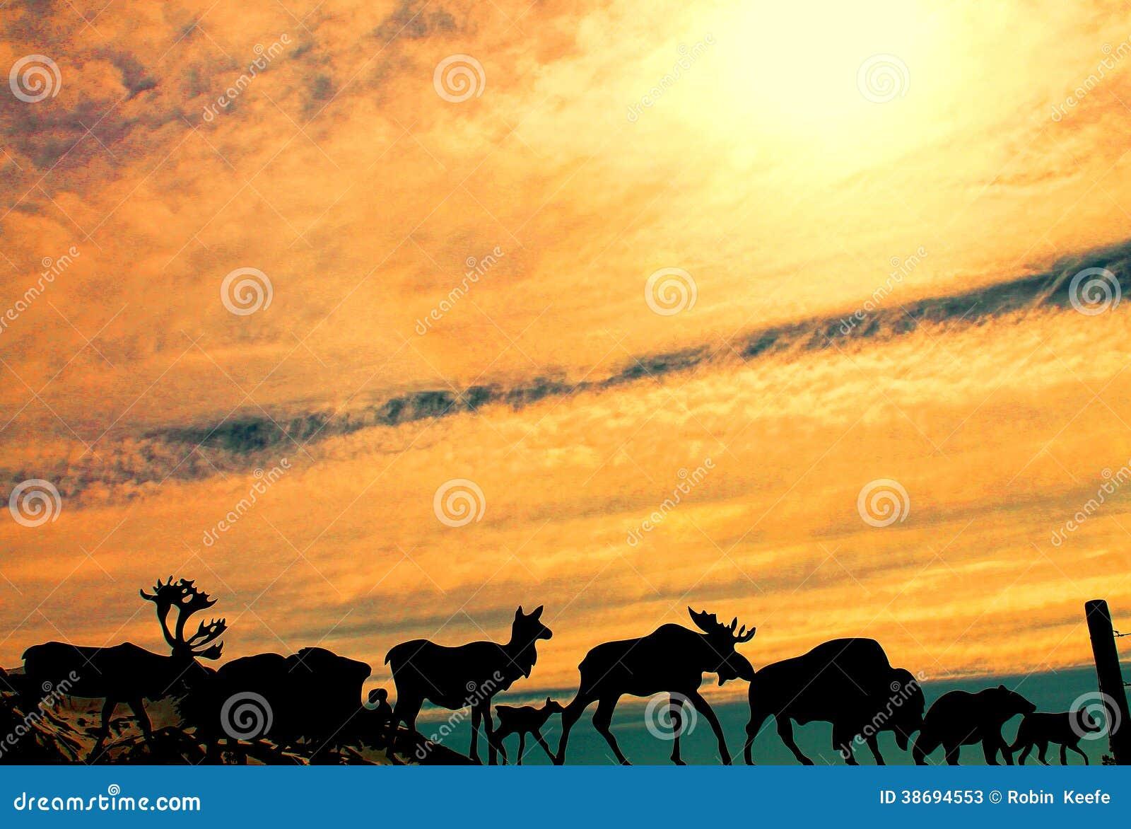 Silhueta de animais do Alaskan do metal