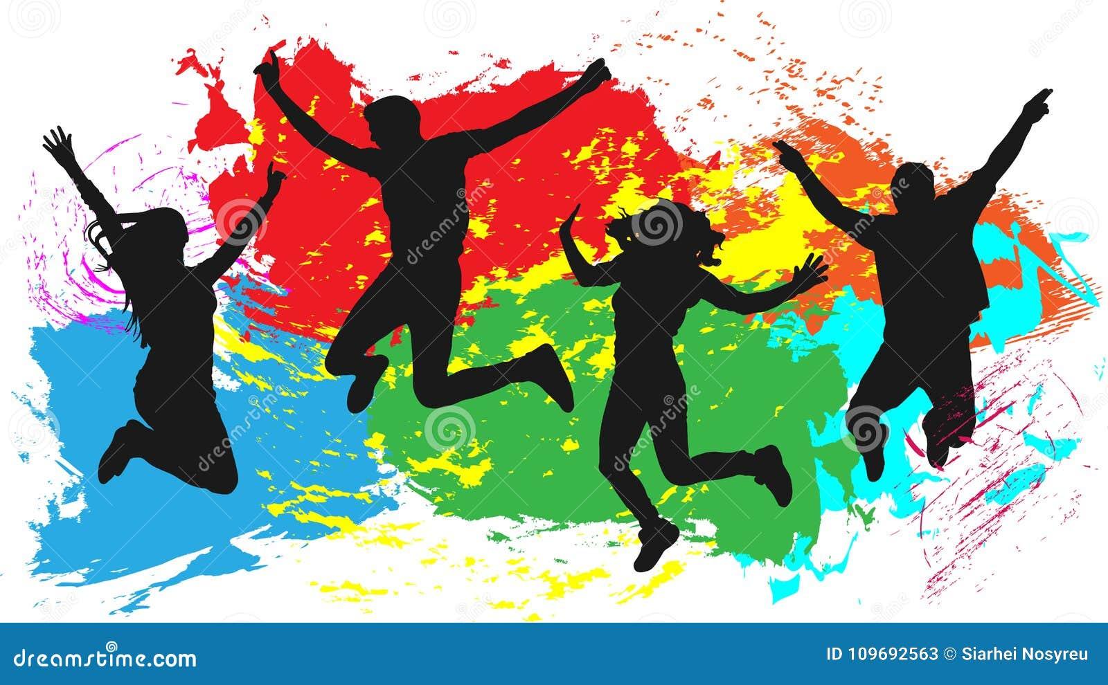 A silhueta de salto dos amigos dos povos, tinta brilhante colorida espirra o fundo