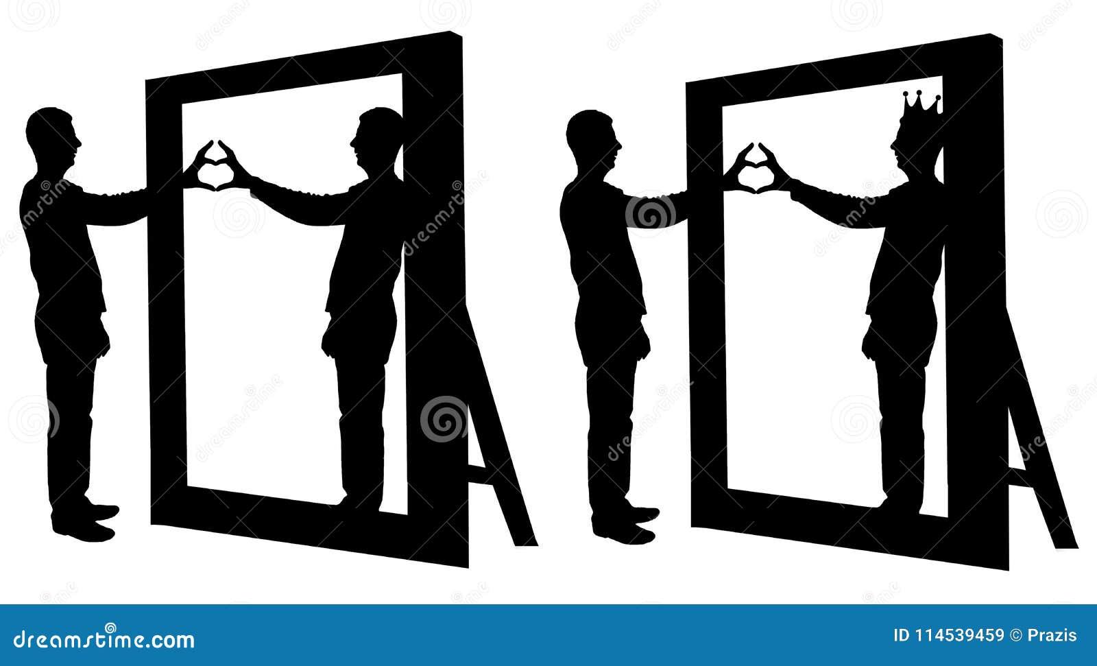 Silhueta de um homem do narcissist e de um gesto de mão de um coração na reflexão em um espelho