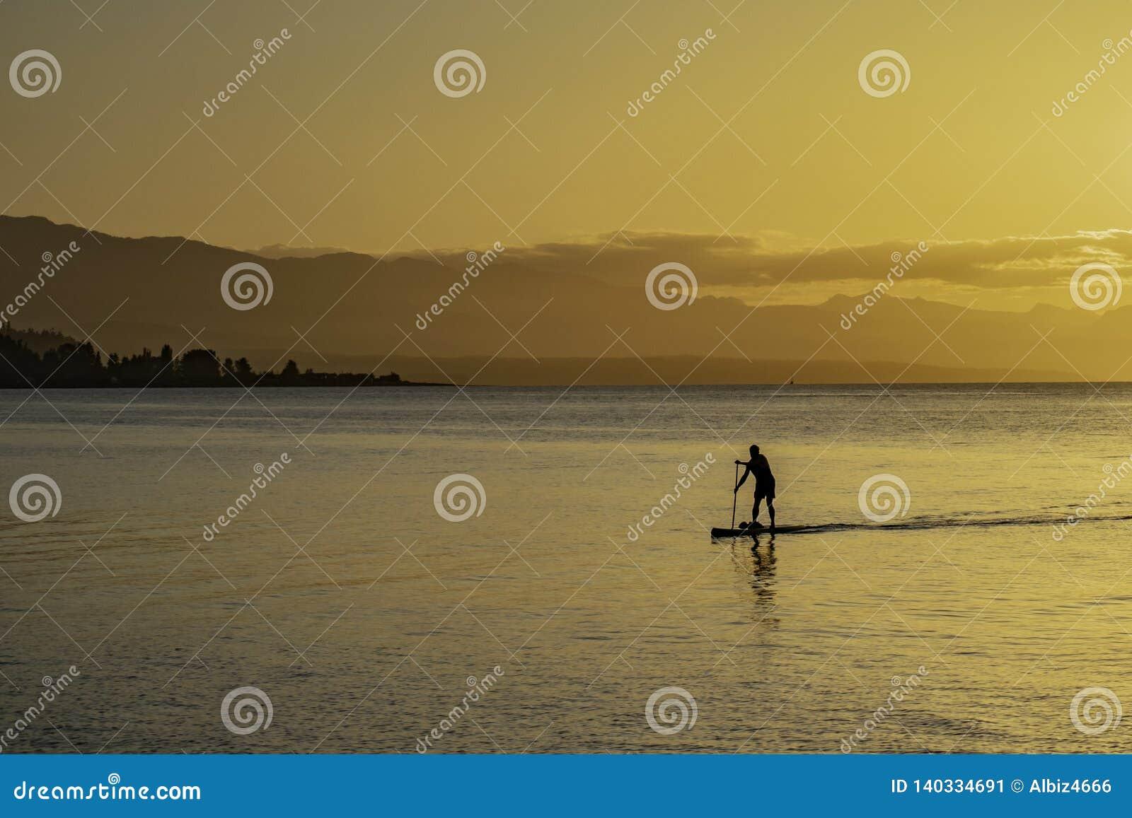 Silhueta de um homem Paddleboarding na costa no por do sol