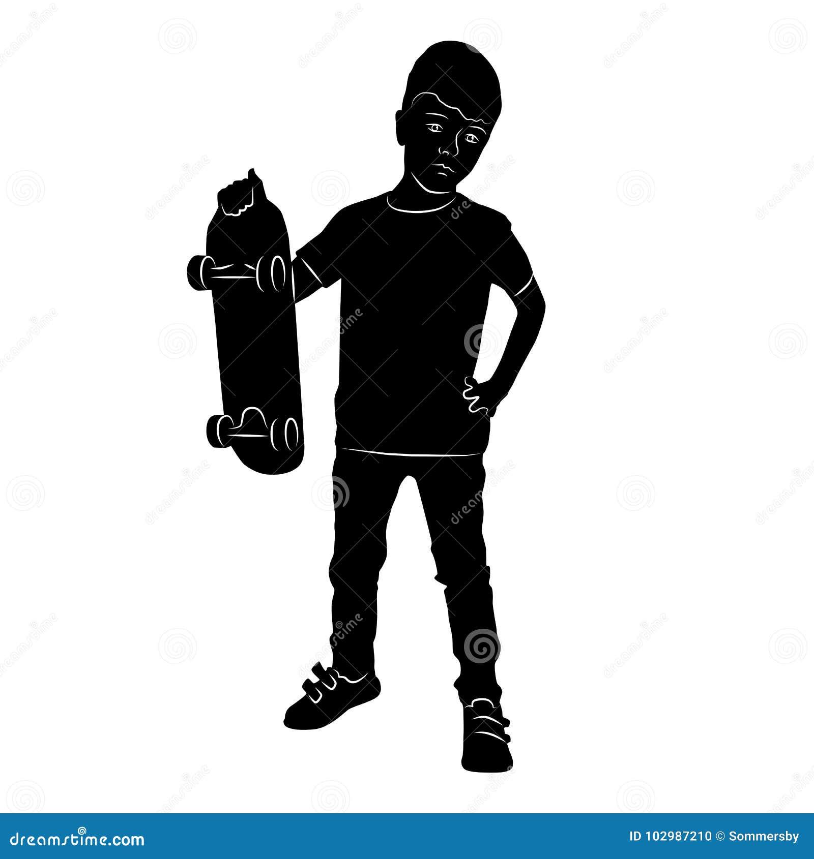 Silhueta de um menino que está com um skate em seu isola da mão