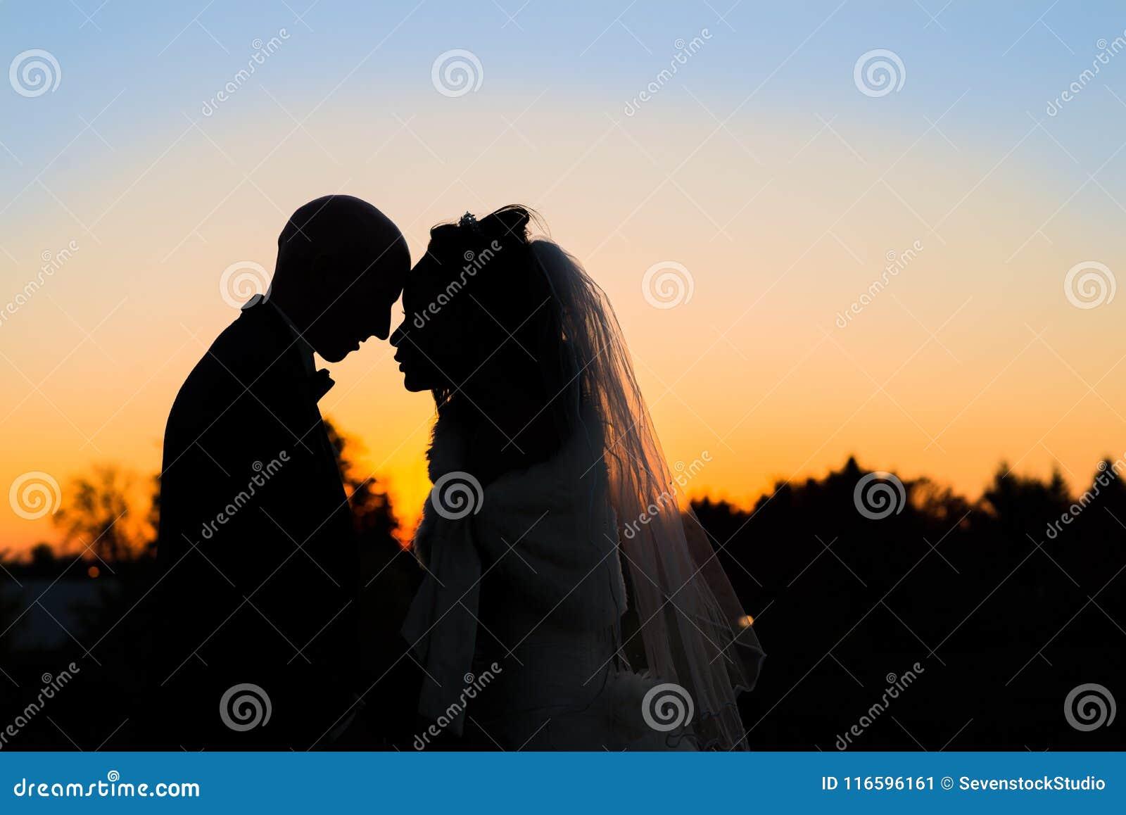 Silhueta de um par do recém-casado