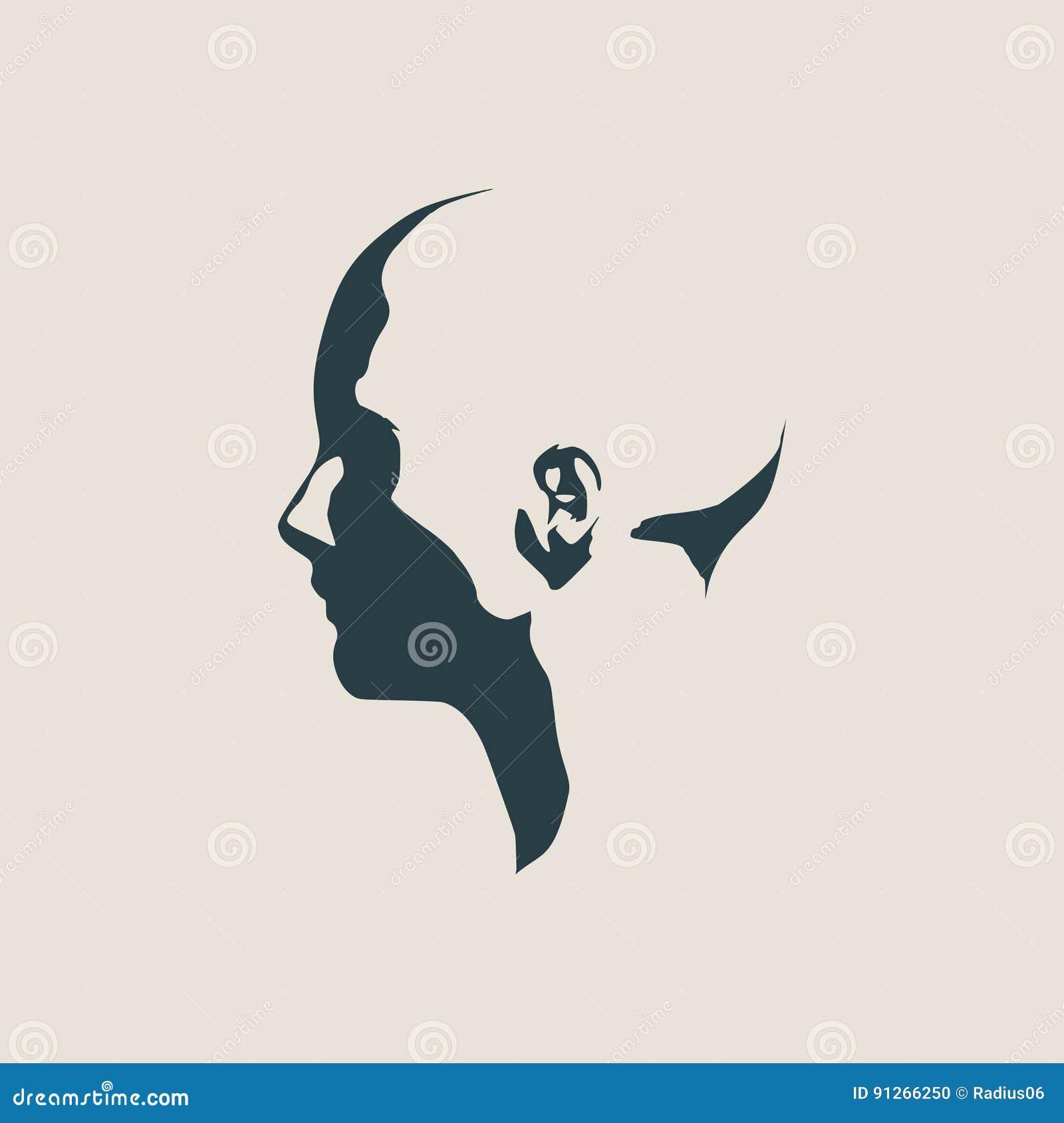 Silhueta de uma cabeça fêmea Vista de frente