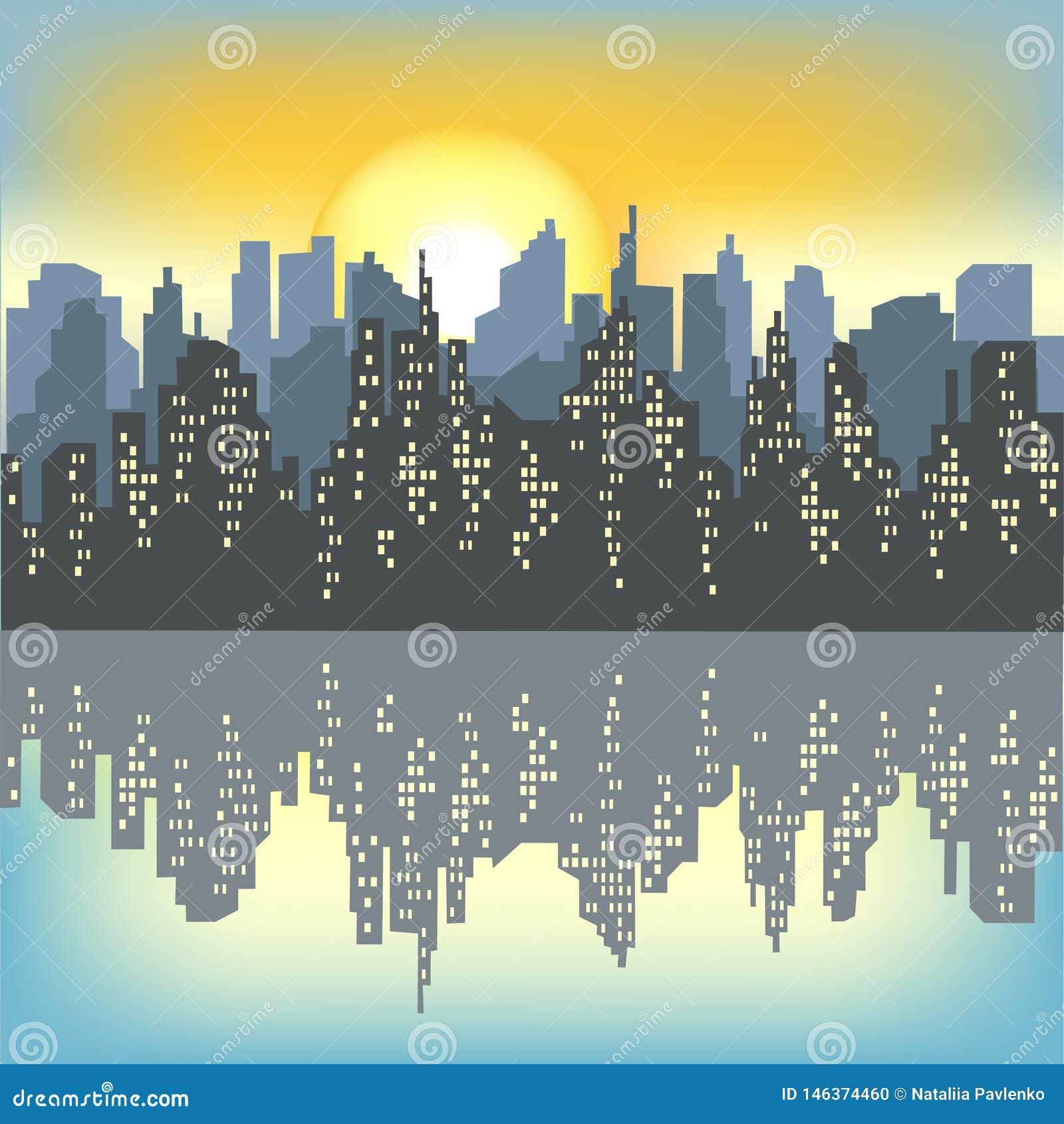 Silhueta de uma cidade grande na perspectiva de um céu claro da manhã O sol de aumentação ilumina tudo A cidade ?