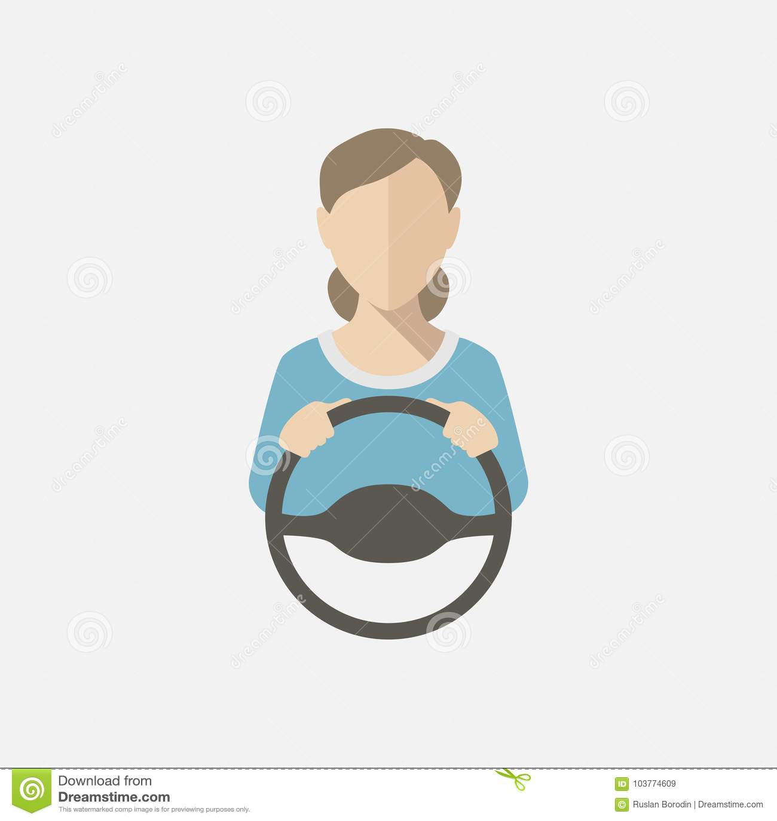 Silhueta de uma mulher em uma blusa azul que conduz um carro Ilustração do vetor, ícone do vetor