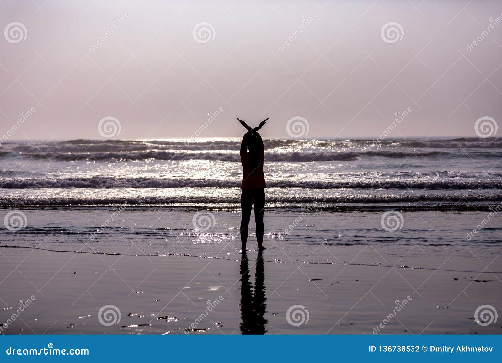 Silhueta de uma posição da menina em ondas de oceano com mãos acima de formar as asas do pássaro
