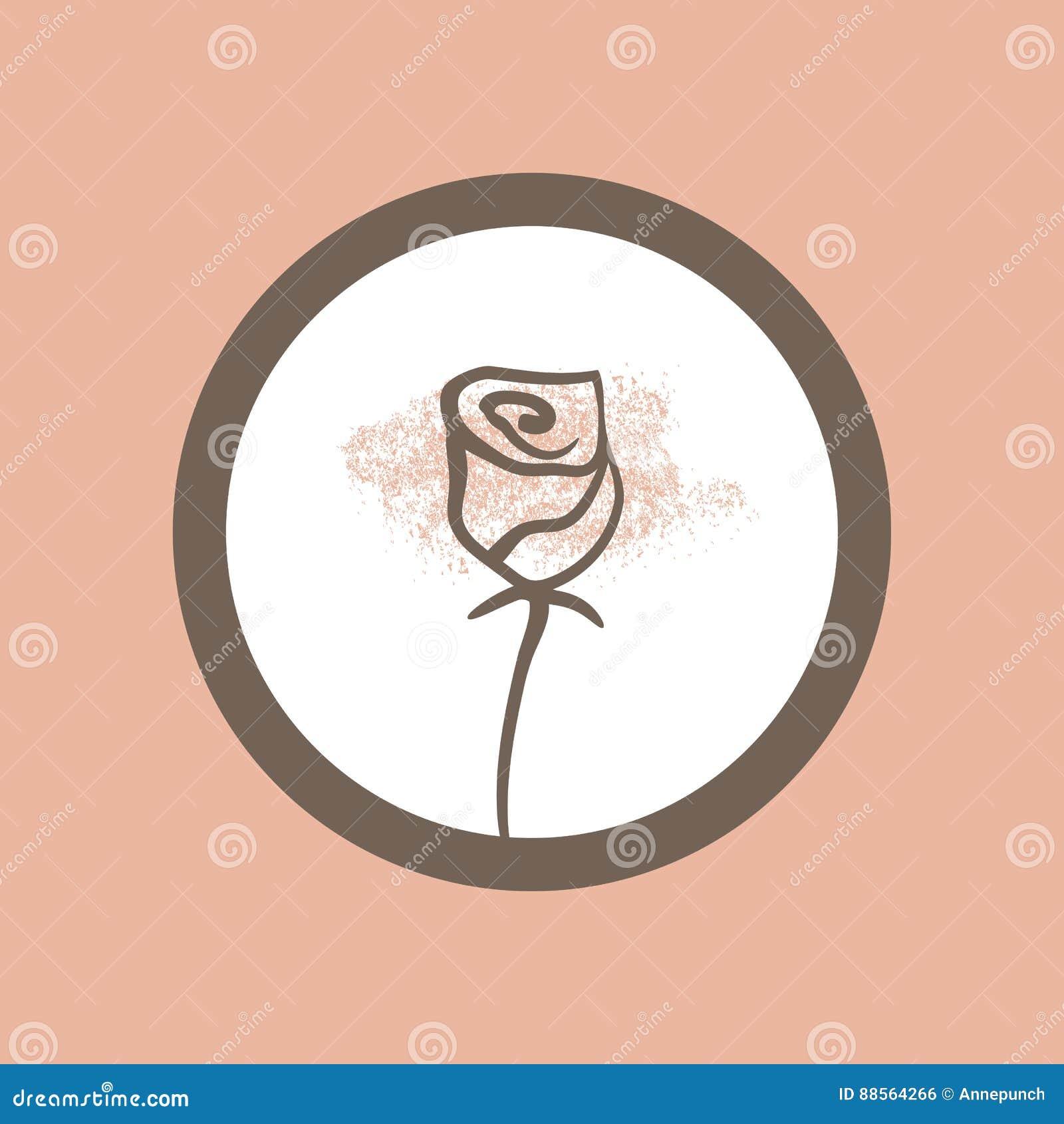 Silhueta de uma rosa pintada à mão com linhas finas Frame redondo