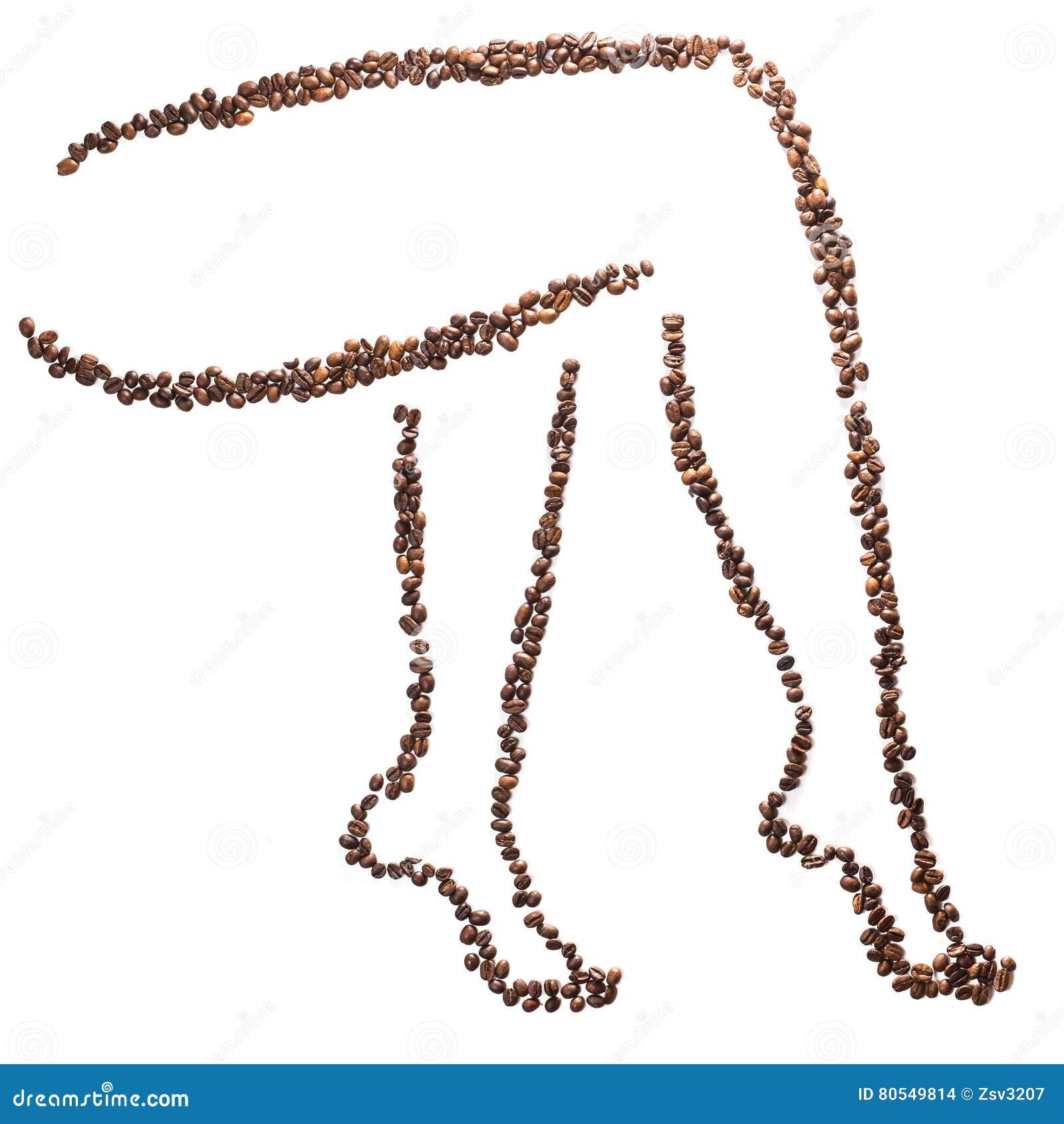 Silhueta delgada dos pés da mulher dos feijões de café isolados no fundo branco Perda de peso do conceito e figura bonita