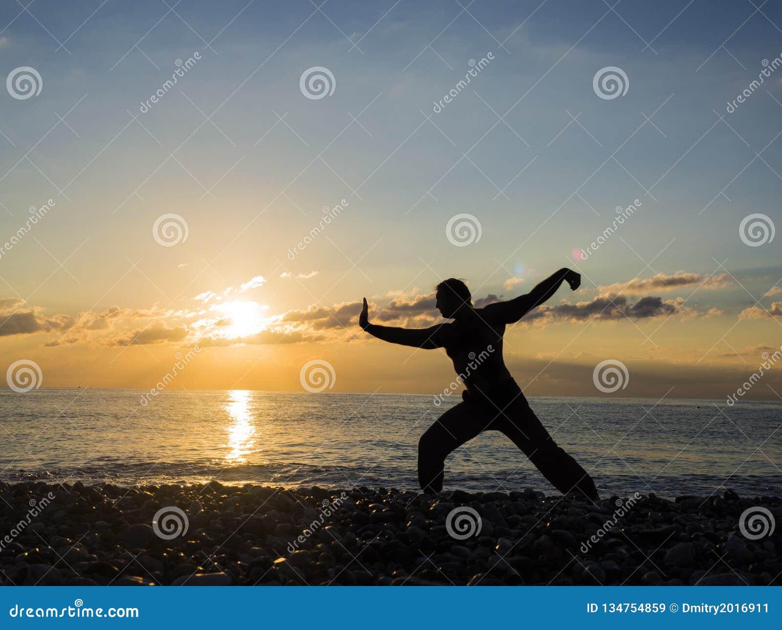 Silhueta do artista ou do especialista marcial masculino novo da ioga na praia durante o por do sol espetacular