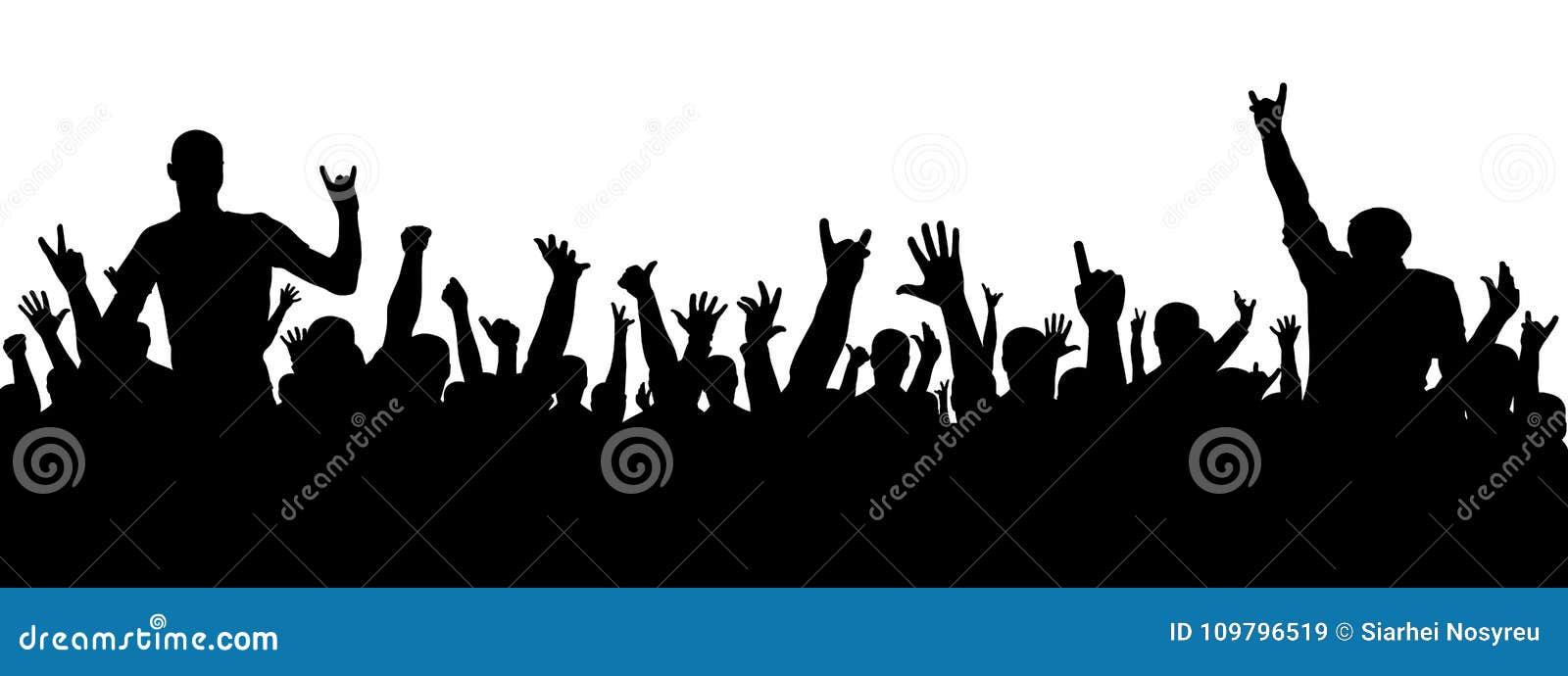 Silhueta do concerto de rocha Uma multidão de povos em um partido Silhueta alegre da multidão Os povos do partido, aplaudem