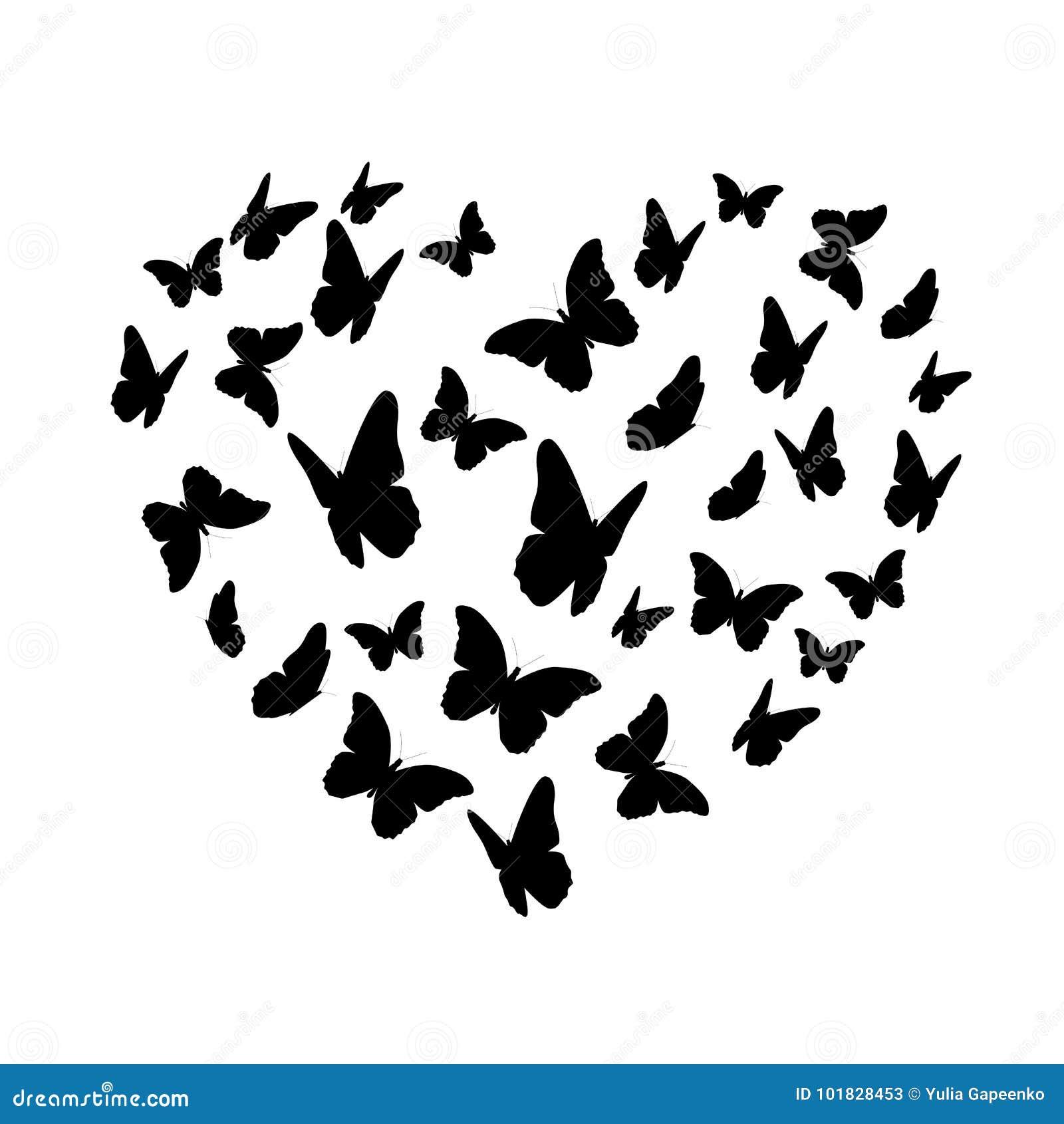 Silhueta do coração da borboleta de Beautifil isolada no fundo branco