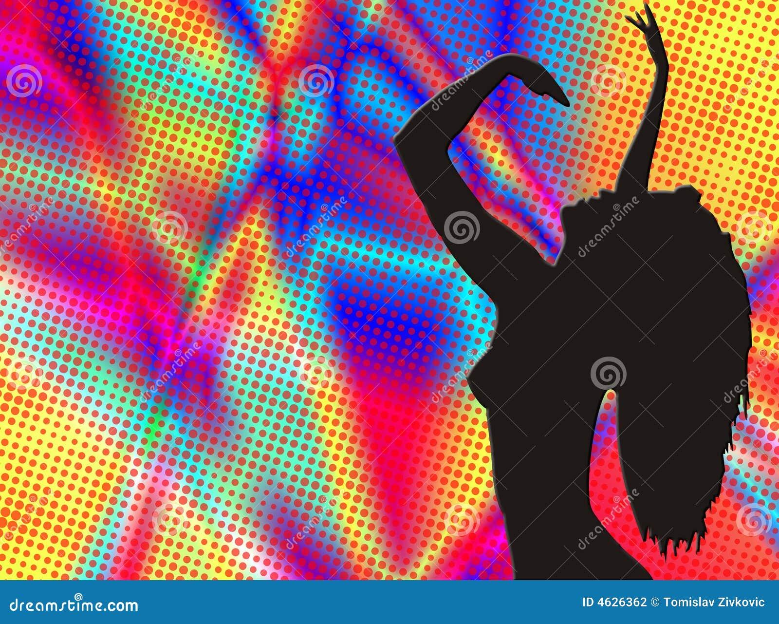 Silhueta do dançarino no fundo do colorfull
