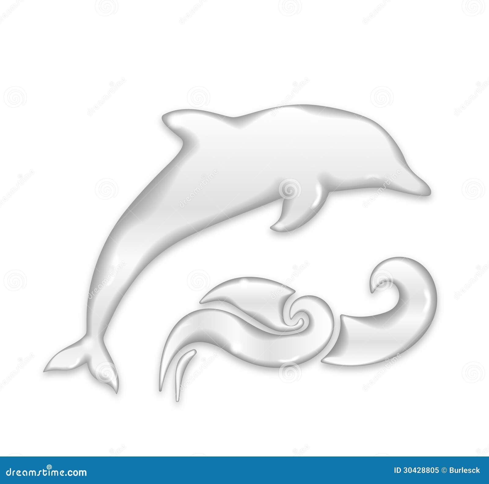 silhueta do golfinho de gotas da água ilustração do vetor