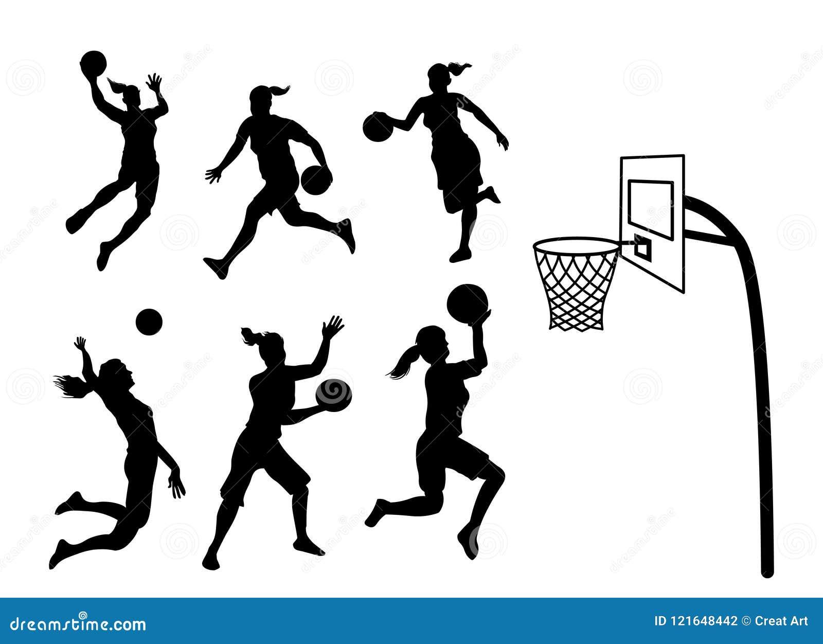 Silhueta do jogador de basquetebol da mulher
