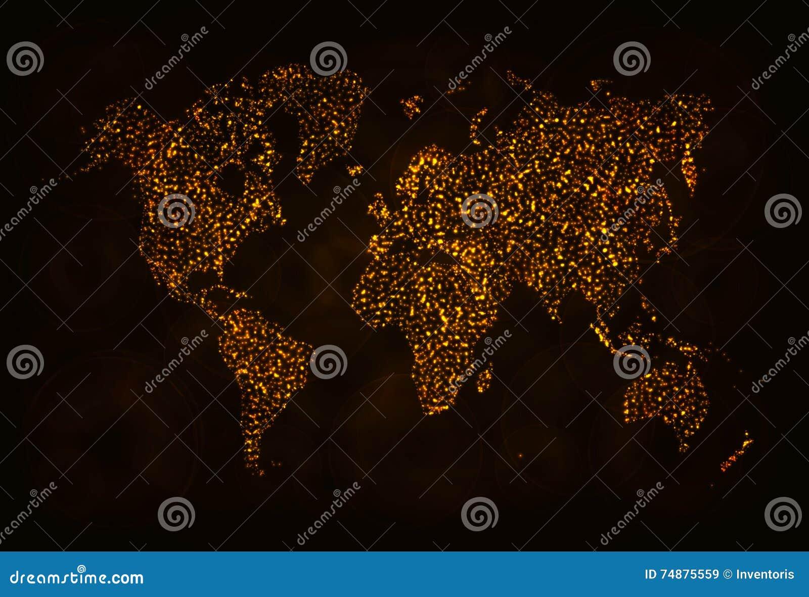 Silhueta do mapa das luzes no fundo escuro