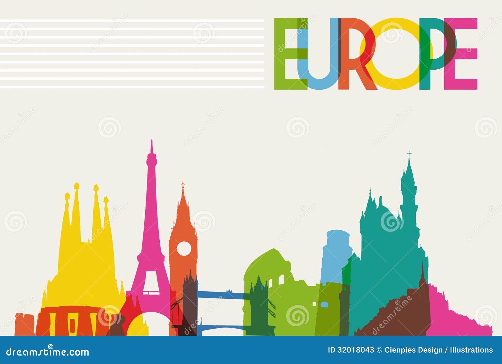 Silhueta do monumento da skyline de Europa