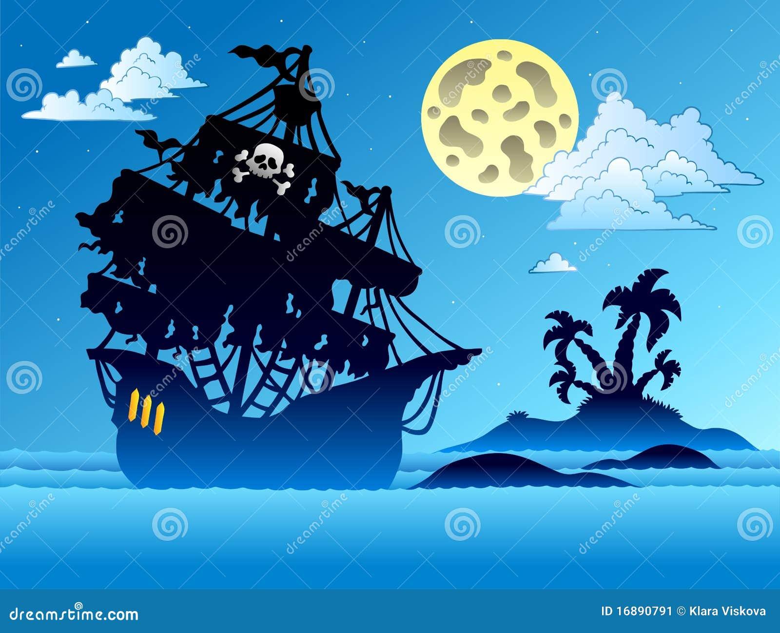 Silhueta do navio de pirata com console
