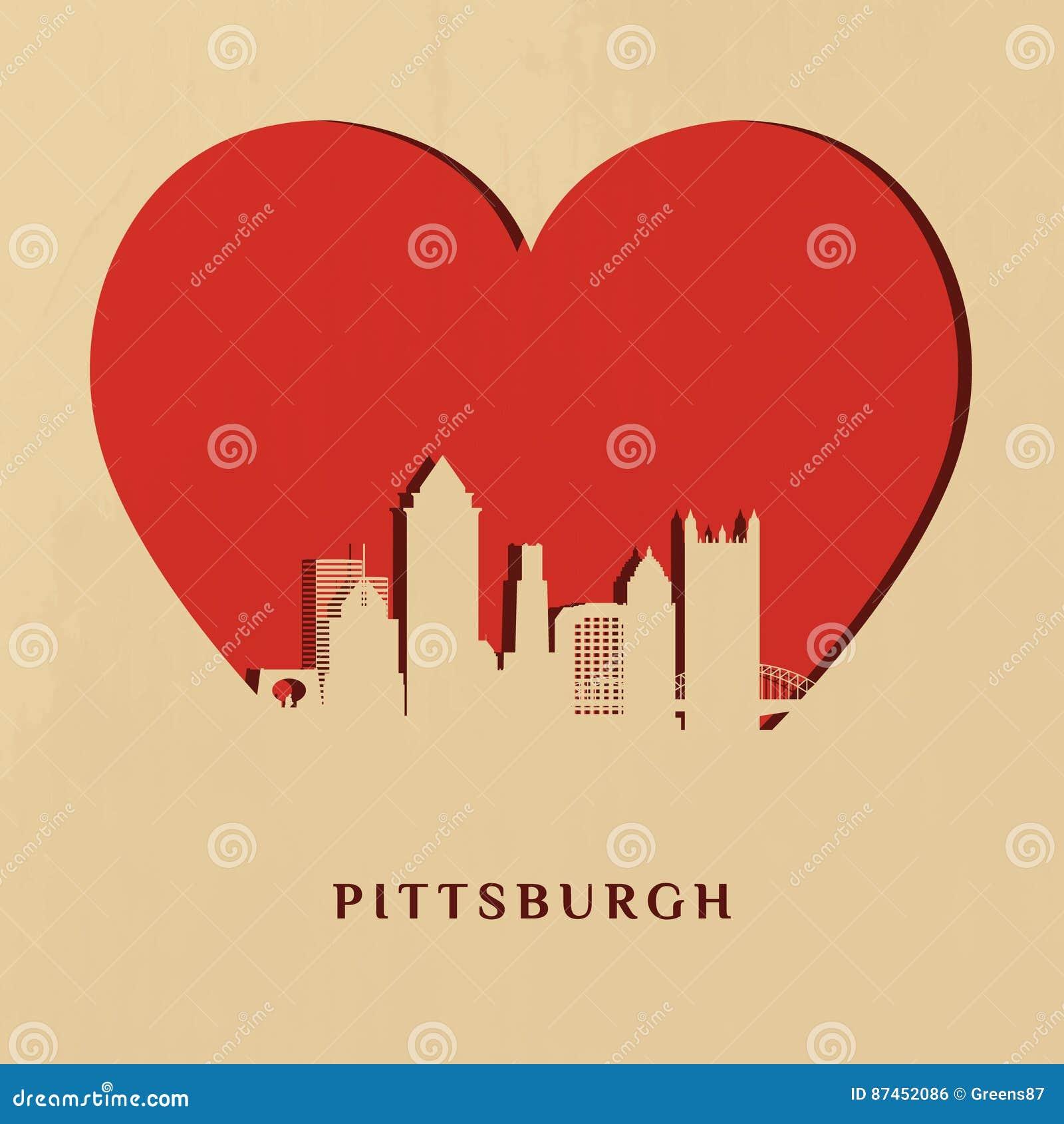 Silhueta do Papel-corte da skyline de Pittsburgh