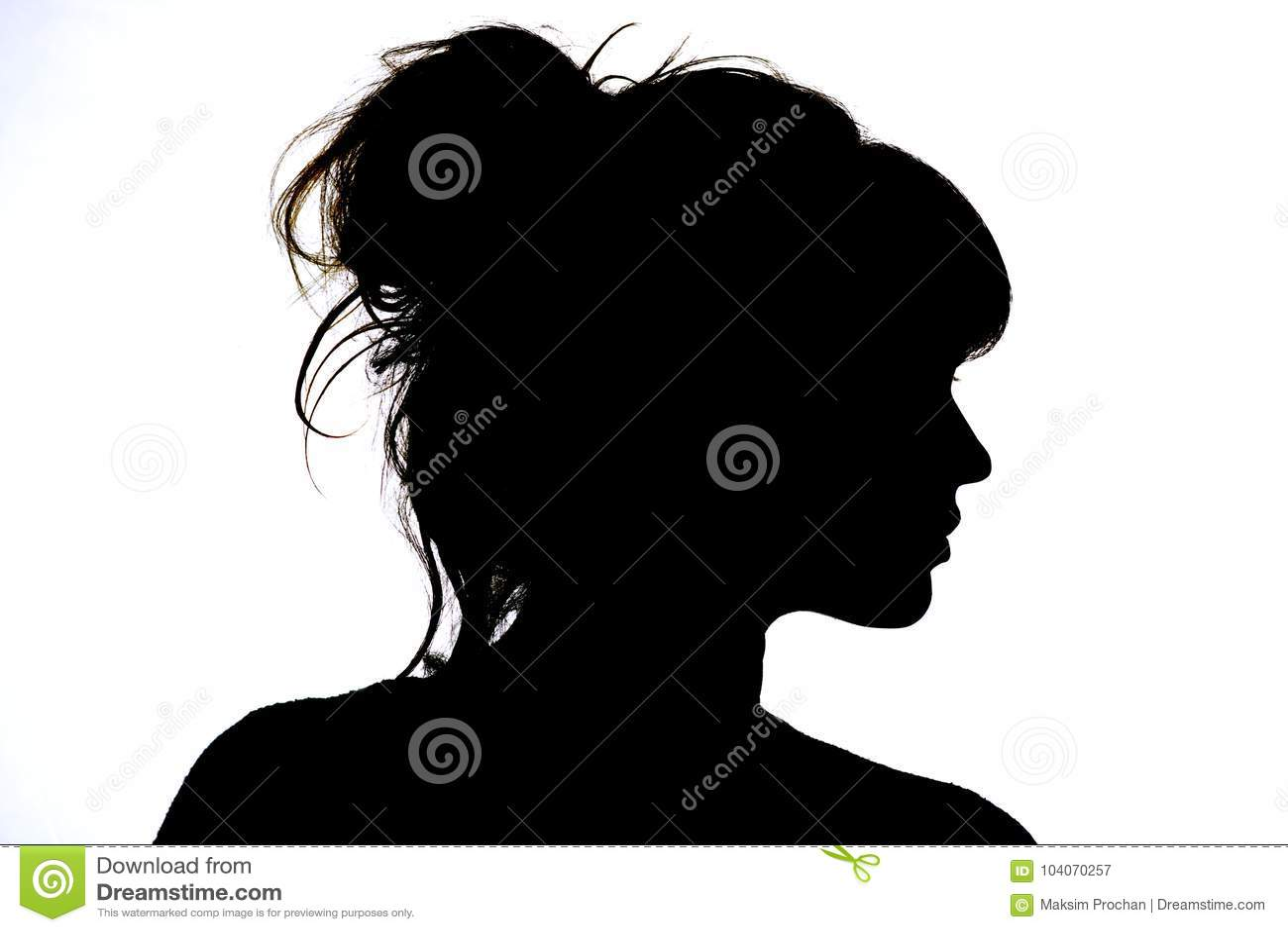 Silhueta do perfil bonito da beleza e da forma do conceito da cara da mulher