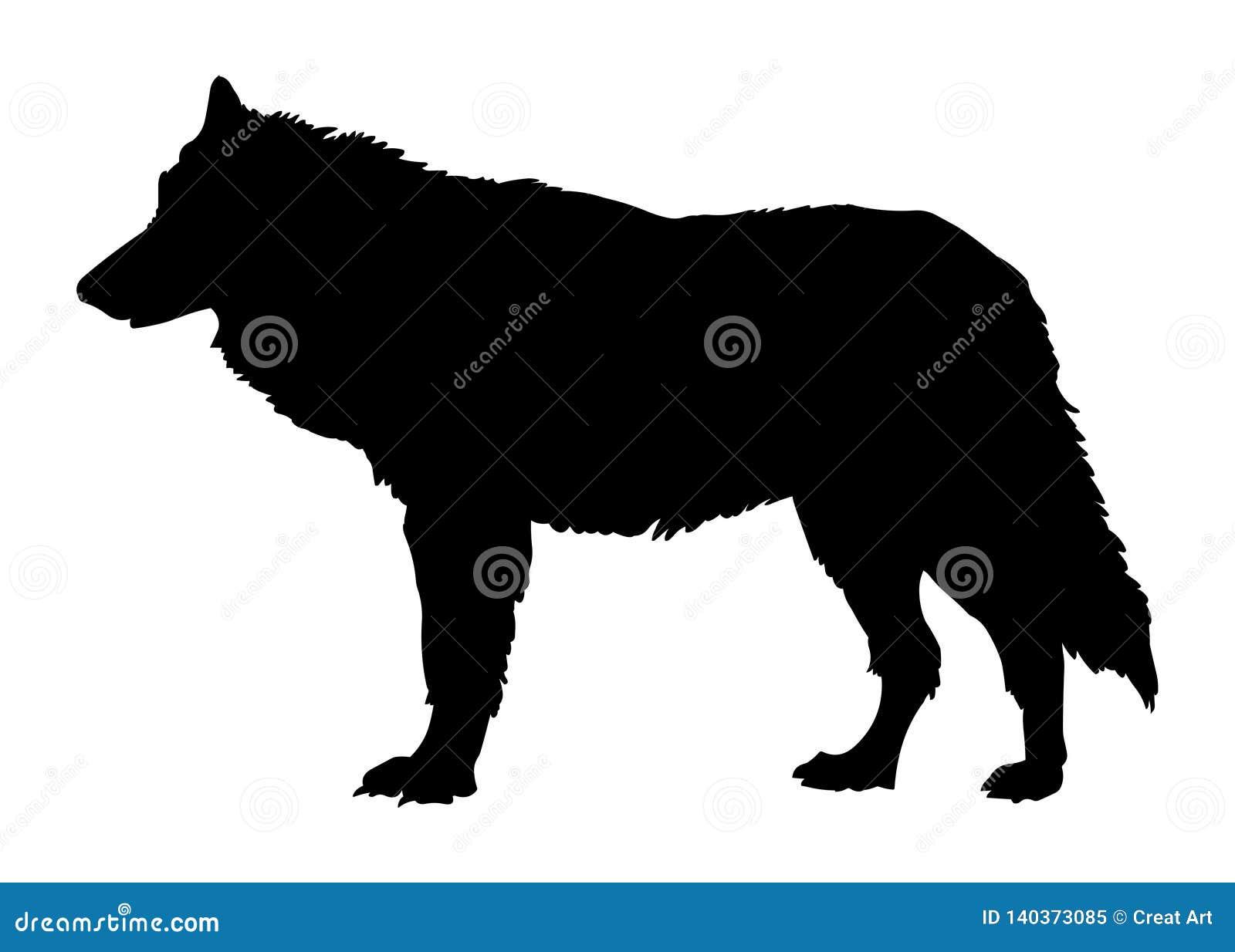 Silhueta do preto da ilustração do vetor do lobo