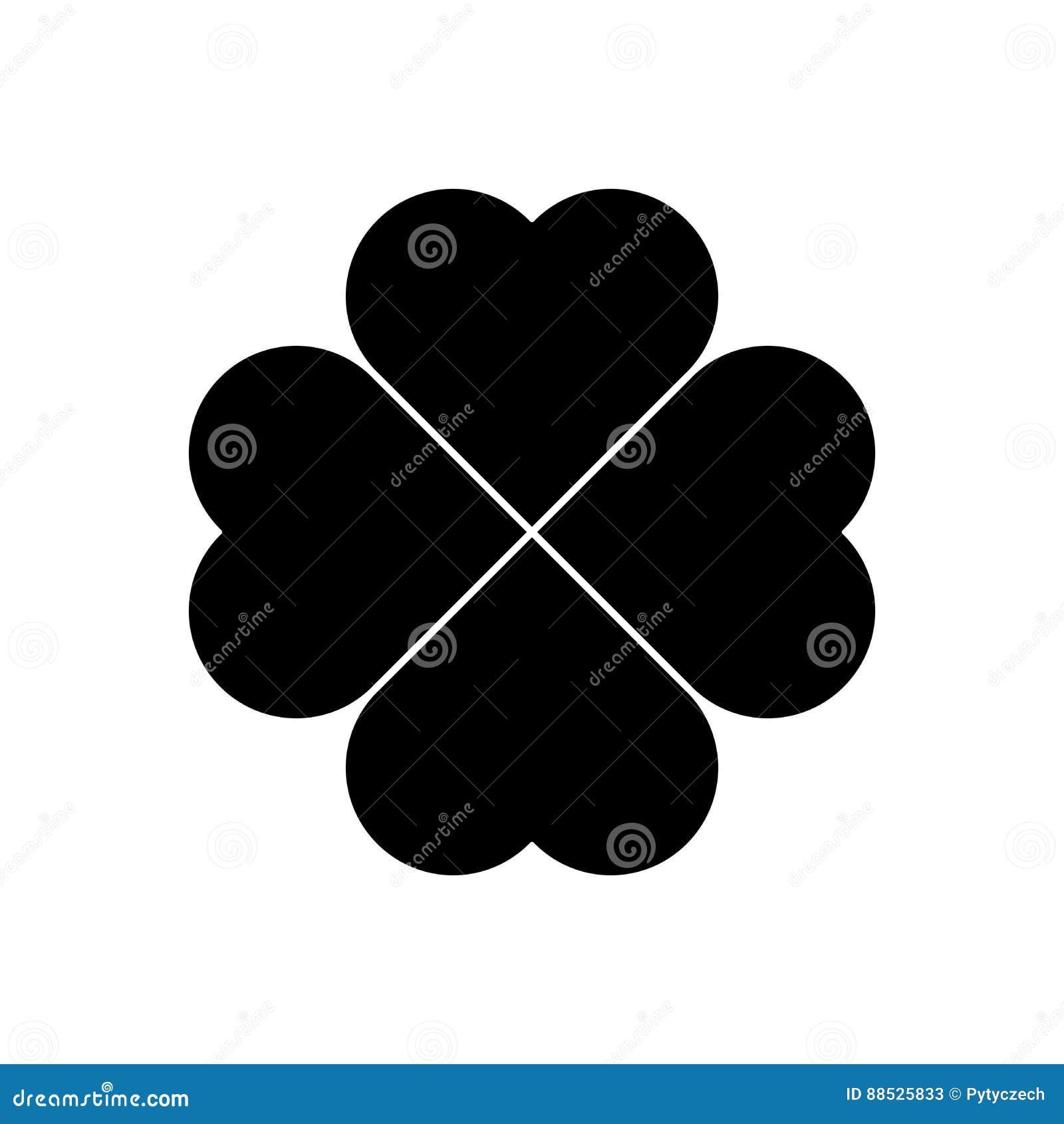 Silhueta do trevo - ícone do trevo da folha do preto quatro Elemento do projeto do tema da boa sorte Vetor geométrico simples da