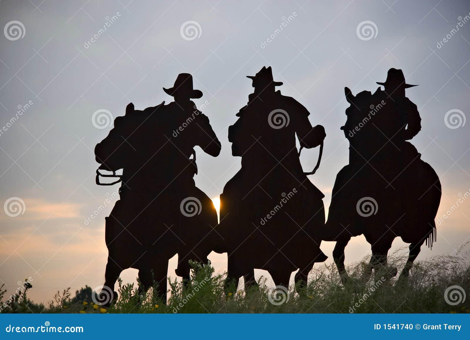 Silhueta dos cowboys