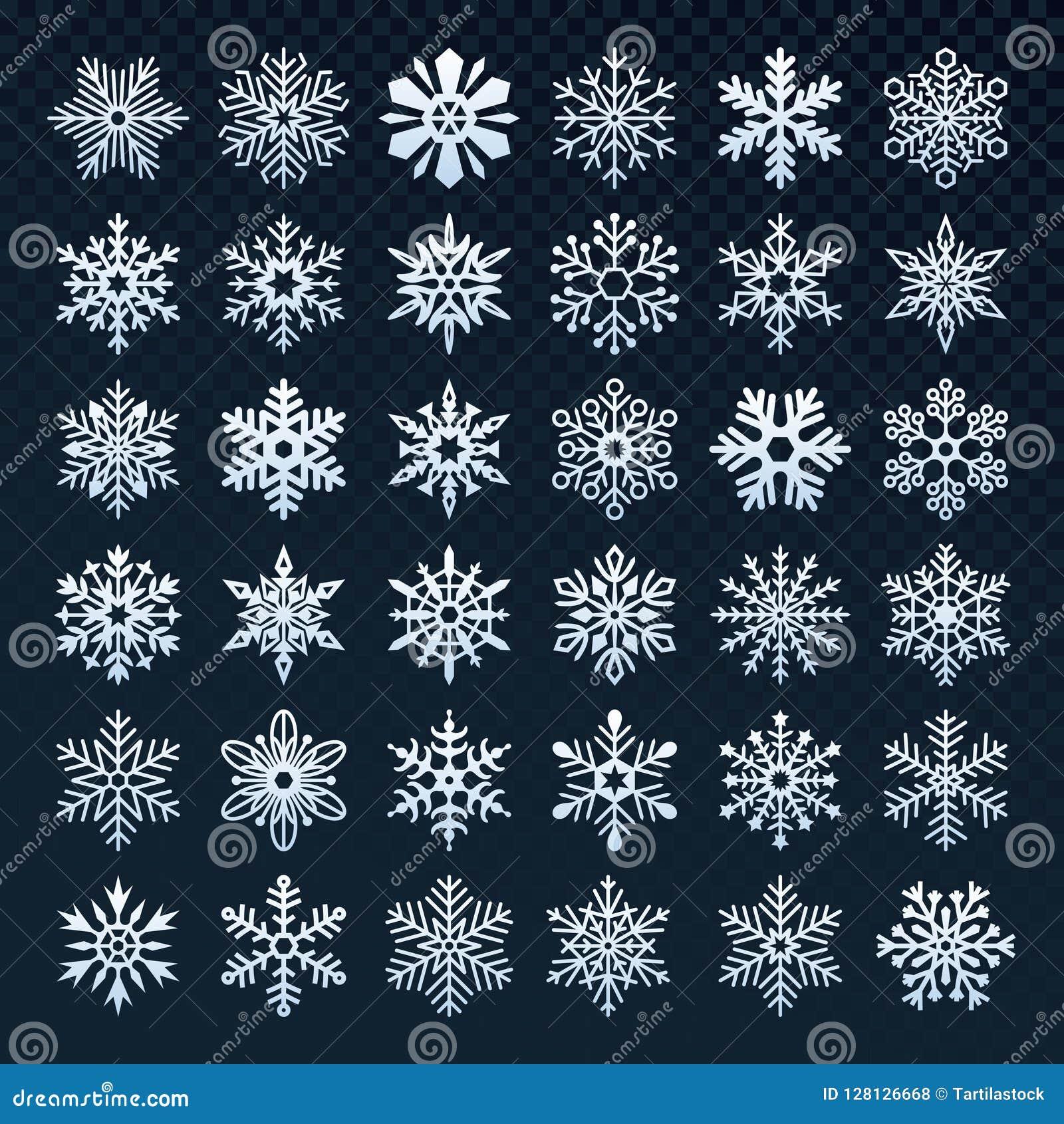 Silhueta dos flocos de neve Símbolo da neve do inverno, queda de neve do gelo e floco de neve frio grupo isolado do ícone do veto