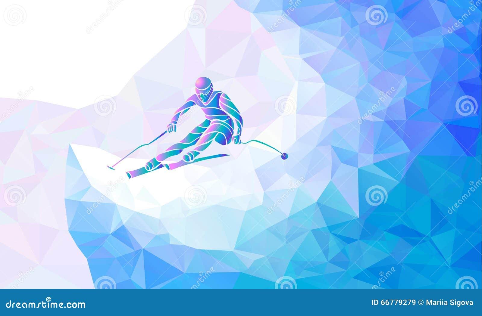 Silhueta gigante de Ski Racer do slalom Ilustração do vetor