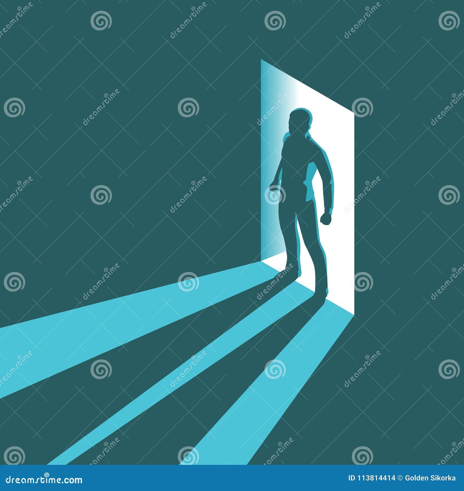 Silhueta isométrica do conceito do homem que entra na sala escura com luz brilhante na entrada