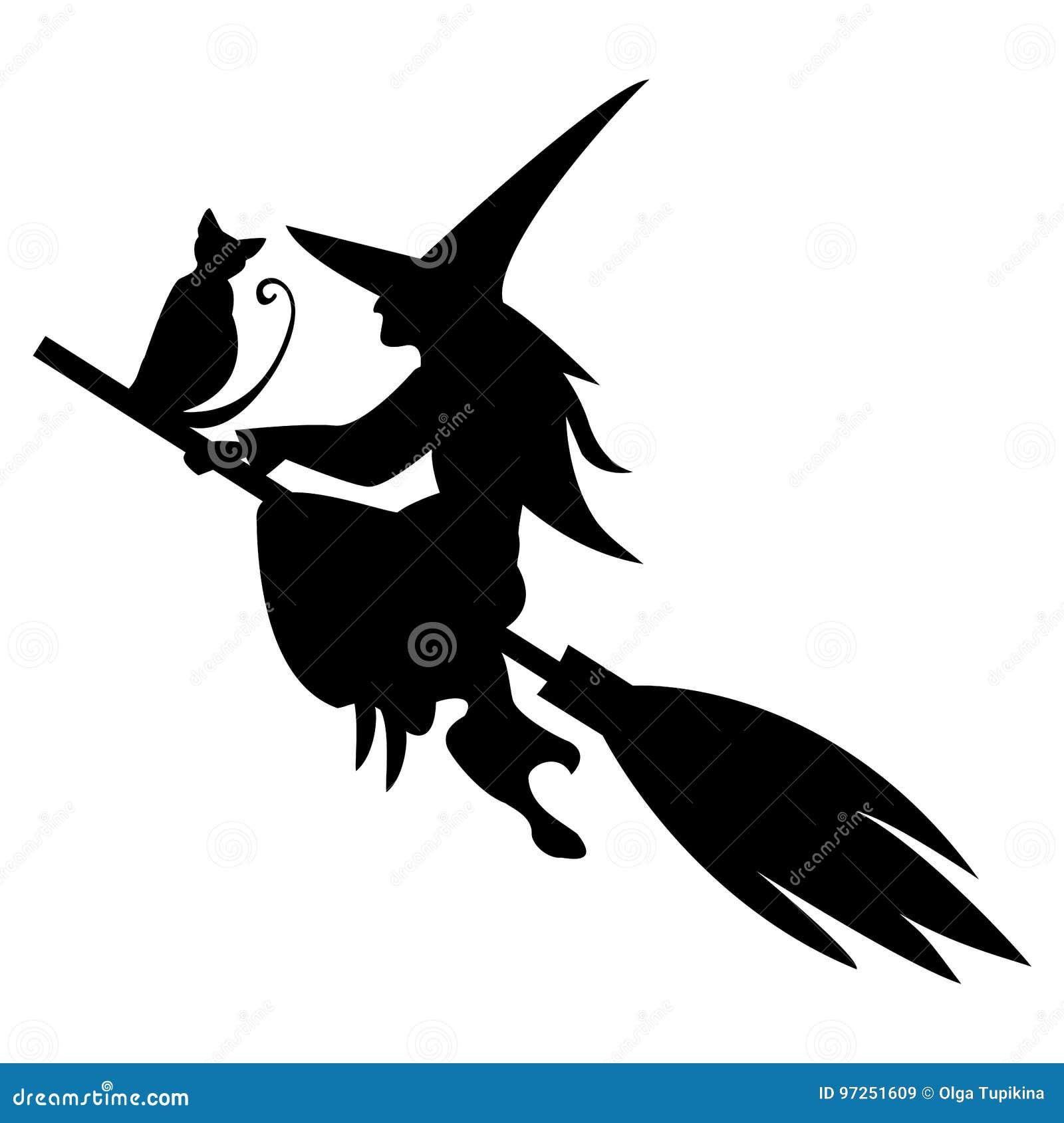 Silhueta mágica engraçada do voo da bruxa e do gato na vassoura