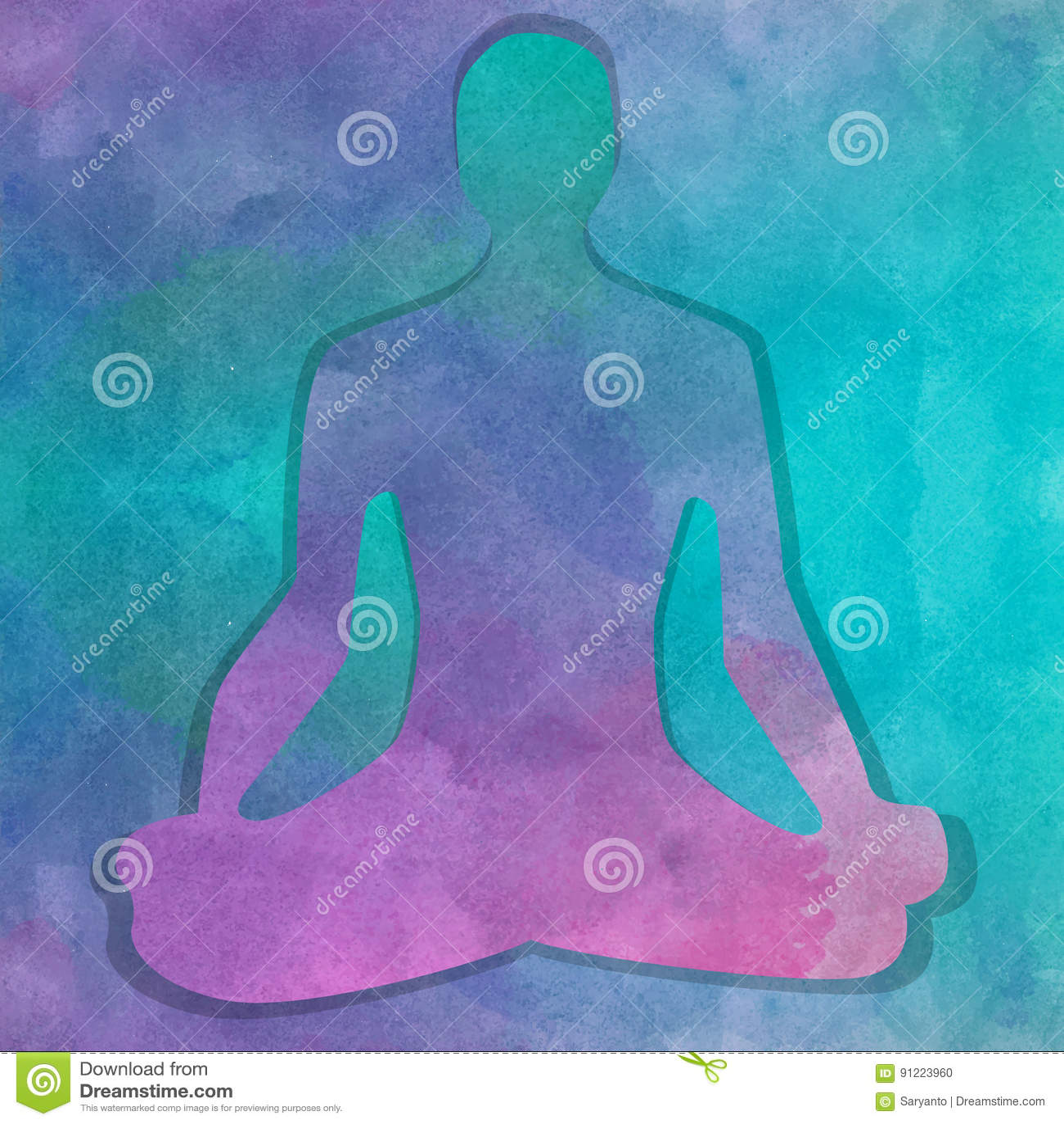 Silhueta na pose da ioga sobre o fundo da aquarela