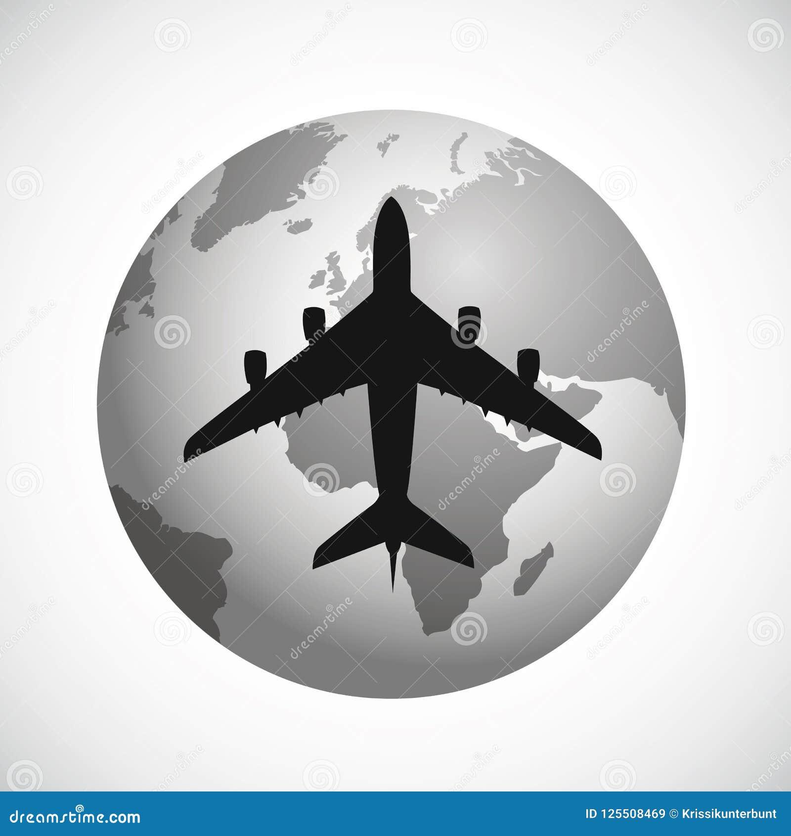 Silhueta plana que voa ao redor do mundo