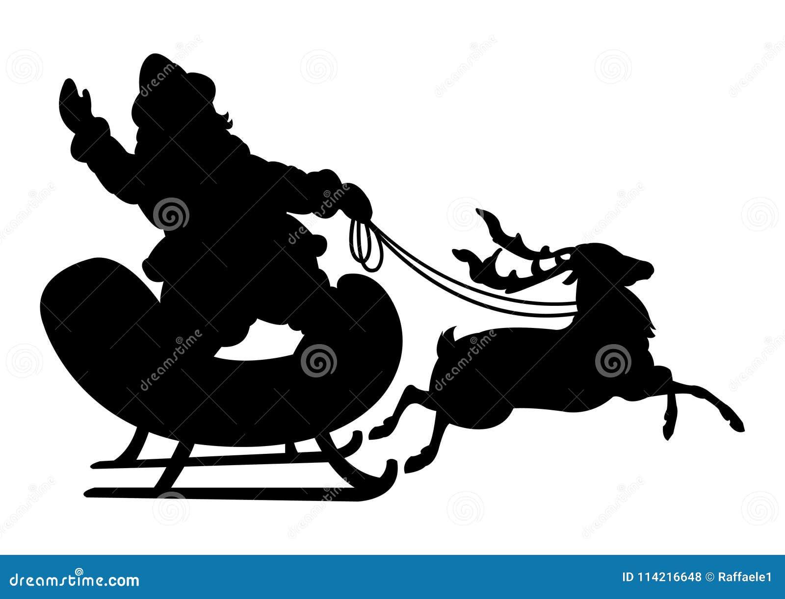 Silhueta preta de Santa e de rena