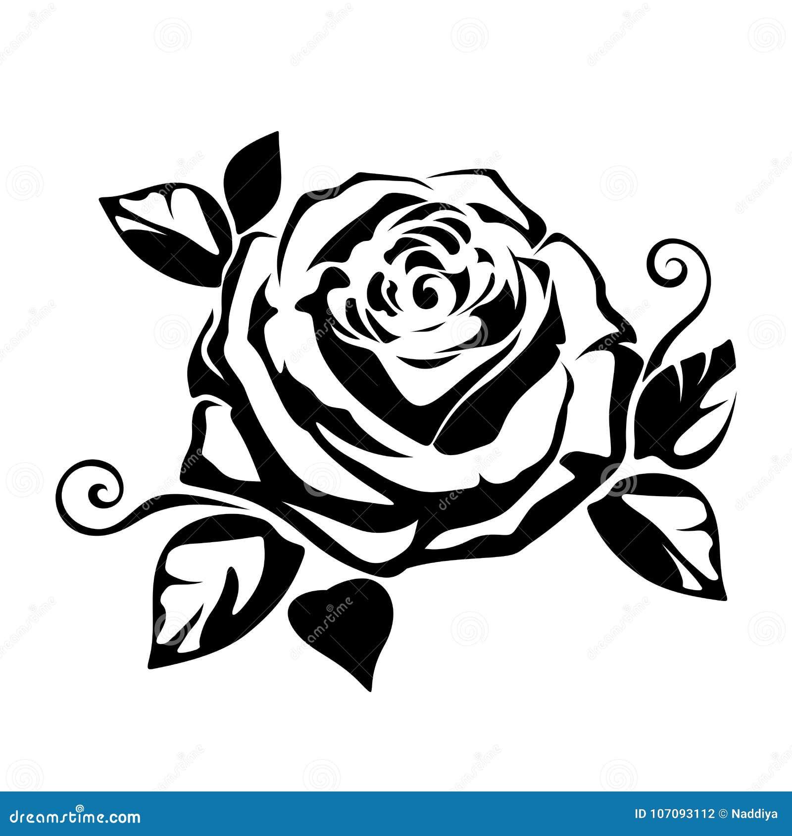 Silhueta Preta De Uma Rosa Ilustracao Do Vetor Ilustracao Do Vetor
