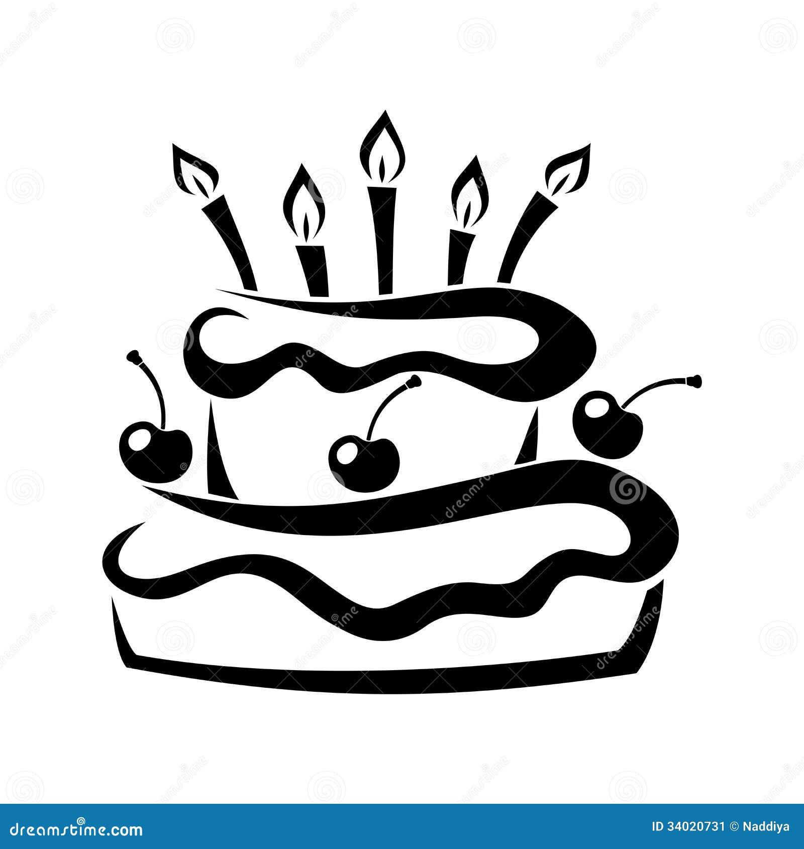Silhueta Preta Do Bolo De Aniversário. Ilustração Do Vetor