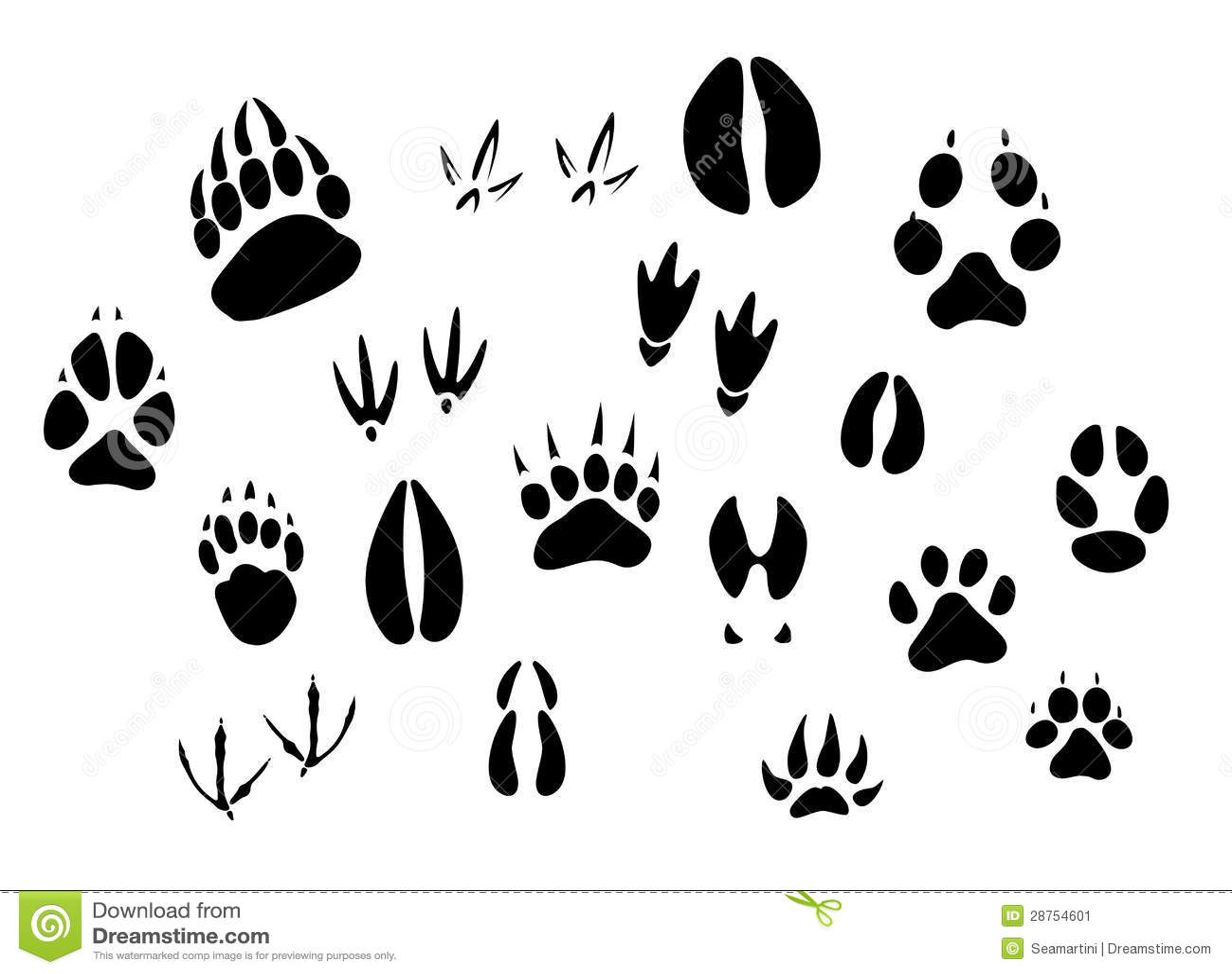 Silhuetas animais das pegadas