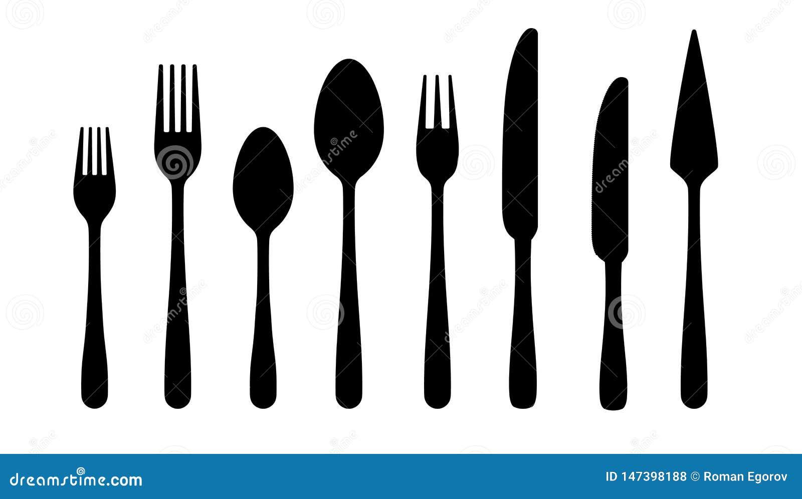 Silhuetas da cutelaria Ícones do preto da faca da colher da forquilha, silhuetas da pratas no fundo branco Grupo da cutelaria do