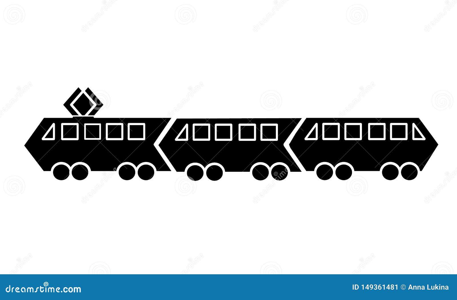 Silhuetas de bondes e de trens pretos do metro com os dois carros isolados no fundo branco Estilo simples liso do ?cone do vetor