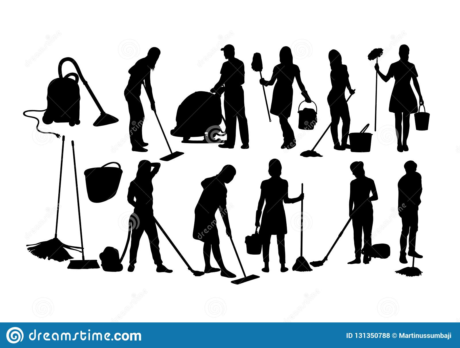 Silhuetas do serviço da limpeza