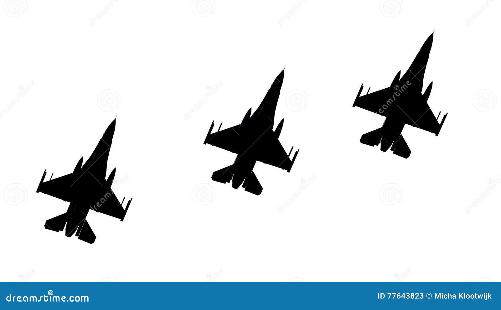 Silhuetas dos aviões de combate