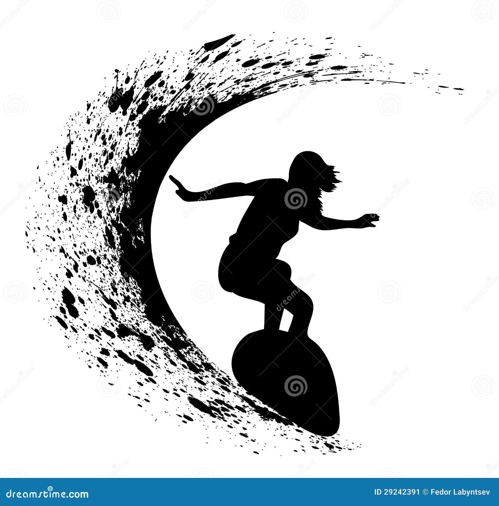 Download Silhuetas dos surfistas ilustração do vetor. Ilustração de alaranjado - 29242391