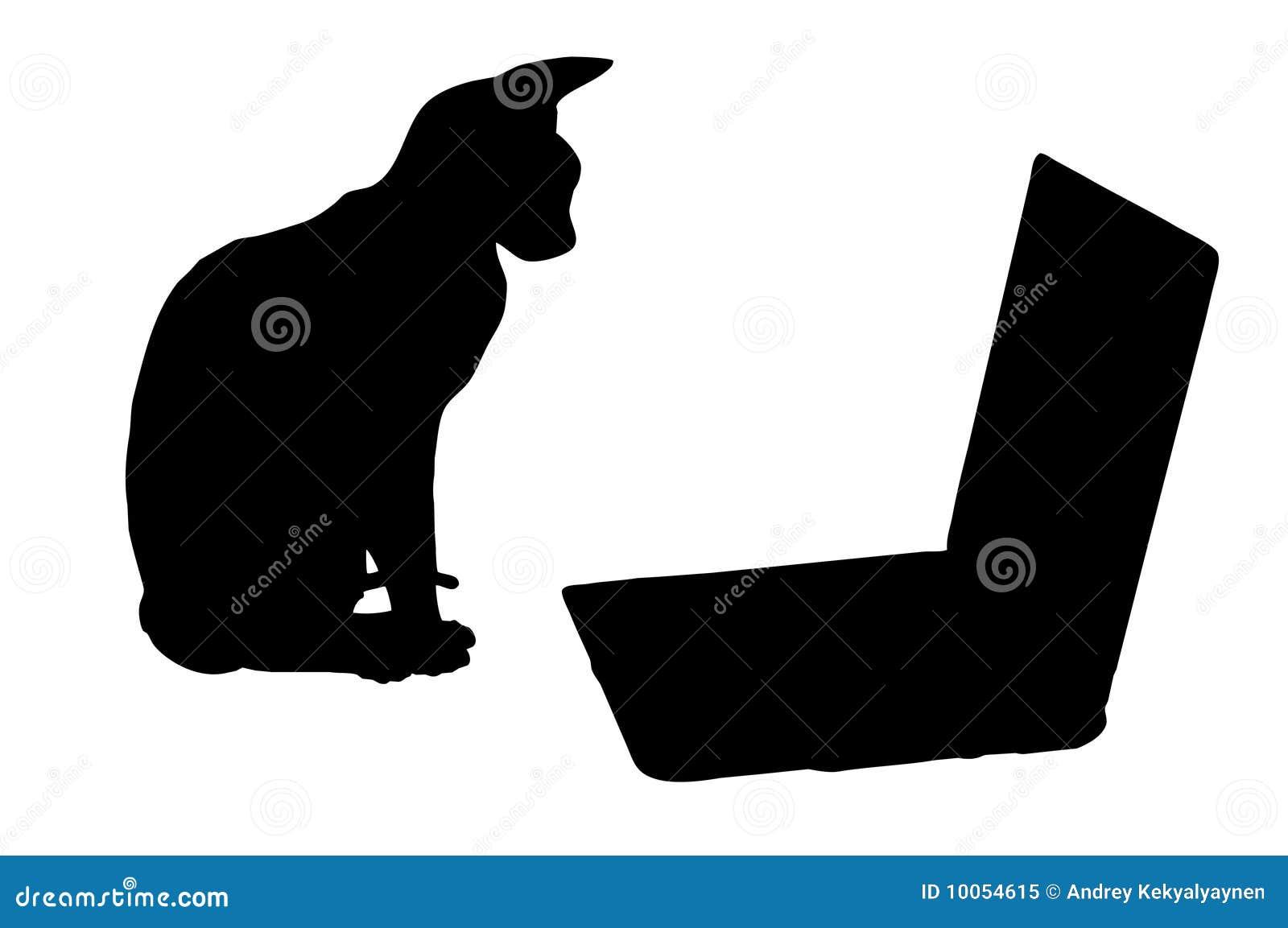 Silhuetas: gato e portátil